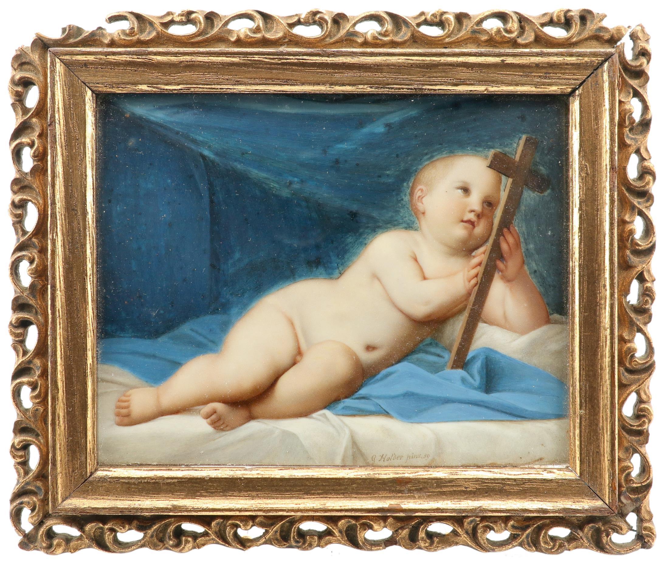λGottlieb Holder (Austrian 19th Century) Miniature of the infant Christ holding the cross Signed and - Image 2 of 3