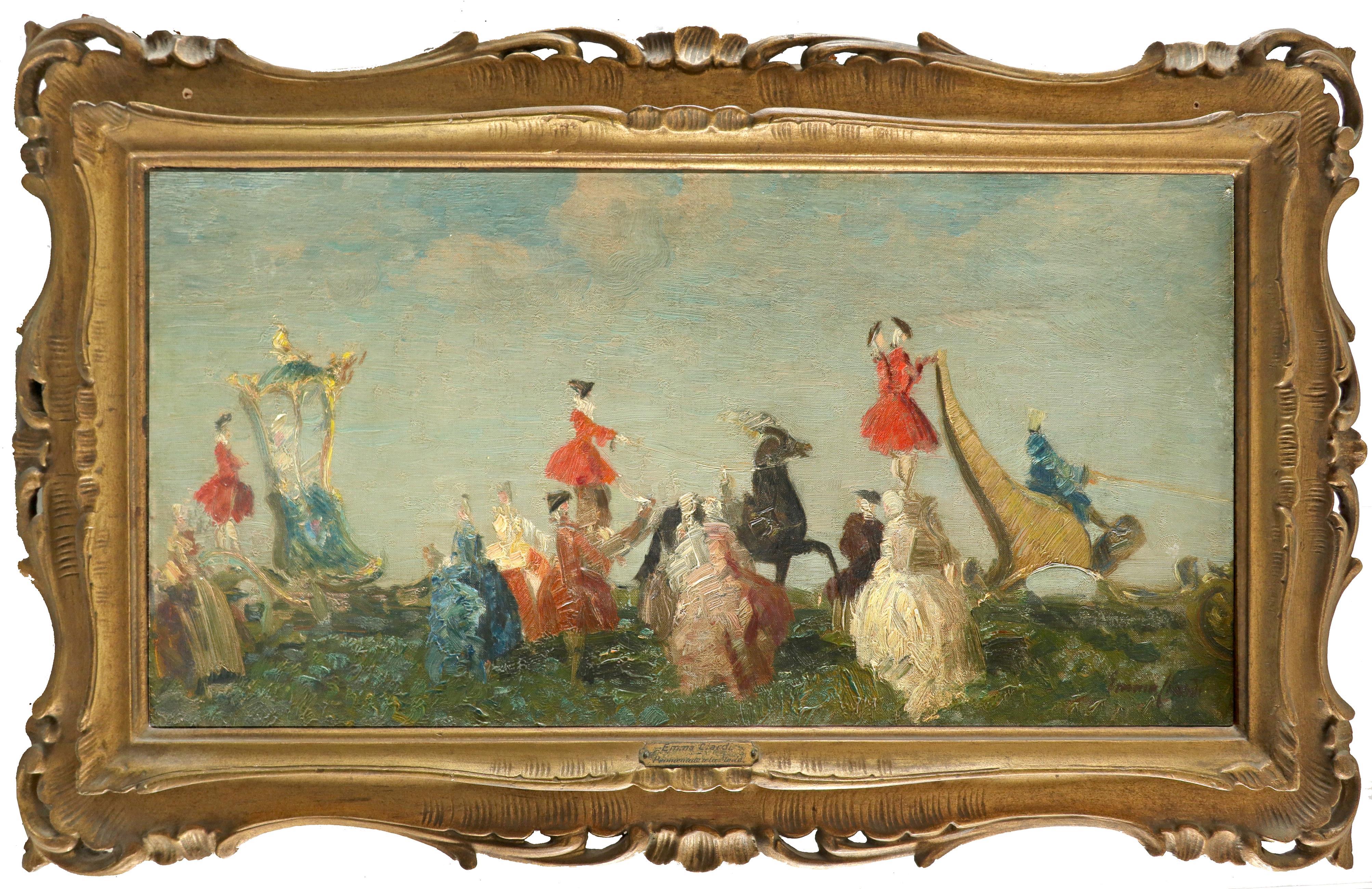 Emma Ciardi (Italian 1879-1933) Promenade à la Mode Signed Emma Ciardi (lower right) Oil on canvas - Image 2 of 3