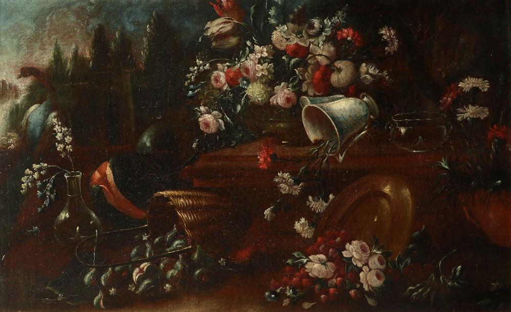 Follower of Pieter Casteels III Still life in an ornamental parkland, with flowers, burst fruit