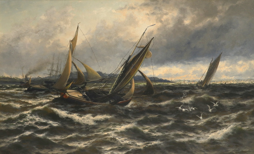 Thomas Rose Miles RCA (act. 1869-1906) Wind and Sea Rising, off the Isle of Sheppey Signed T R Miles