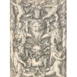 Heinrich Aldegrever (German 1502-c.1561) Panel with Grotesque Candelabrum Containing Satyrs,
