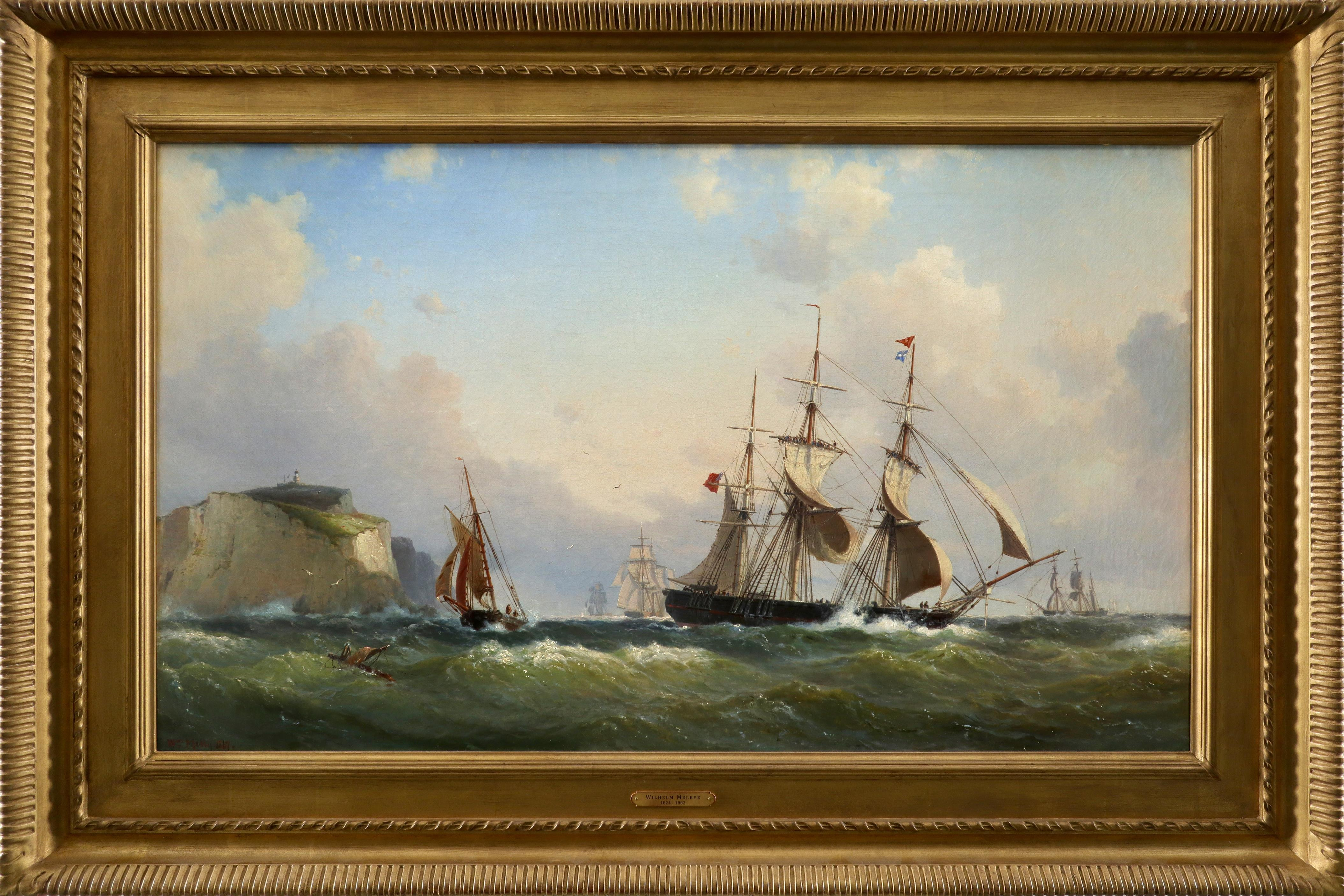 Wilhelm Melbye (Danish 1824-1882) Shipping off Scratchell's Bay, Isle of Wight Signed and dated Wm - Image 2 of 3