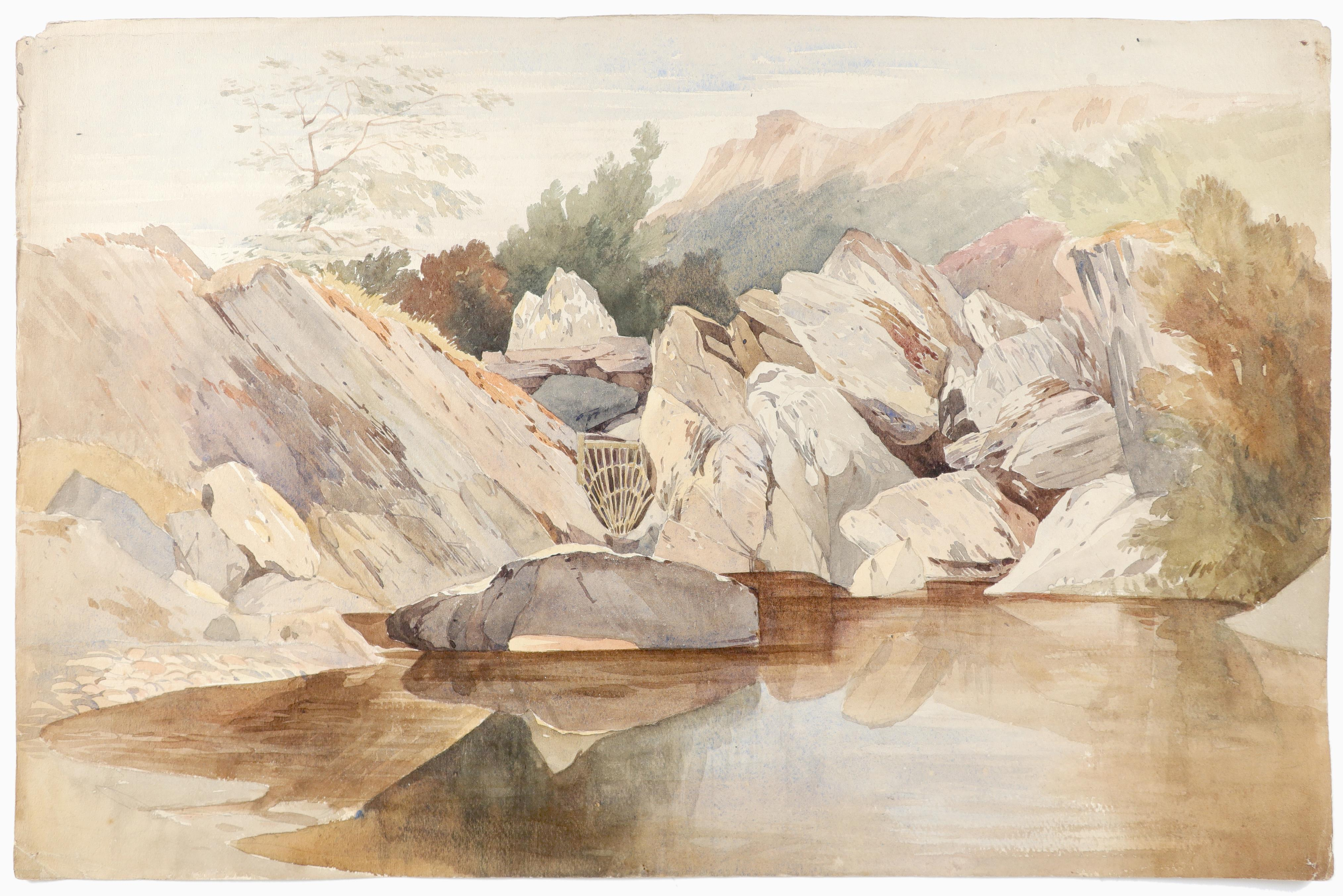 Harry John Johnson (1826-1884) Salmon trap on the rapids of the Llugwy, North Wales; Landscape - Image 8 of 9