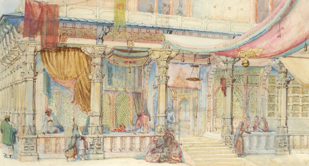 English School 19th Century Orientalist scene with figures outside a souk Pencil and watercolour