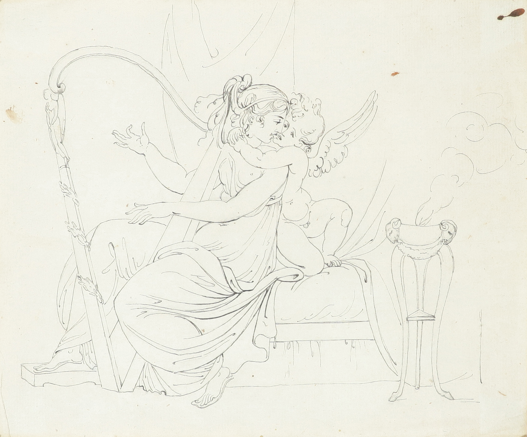 Samuel Woodforde RA (1763-1817) Victory, holding a crown and palm, with a putto; The muse - Image 4 of 9