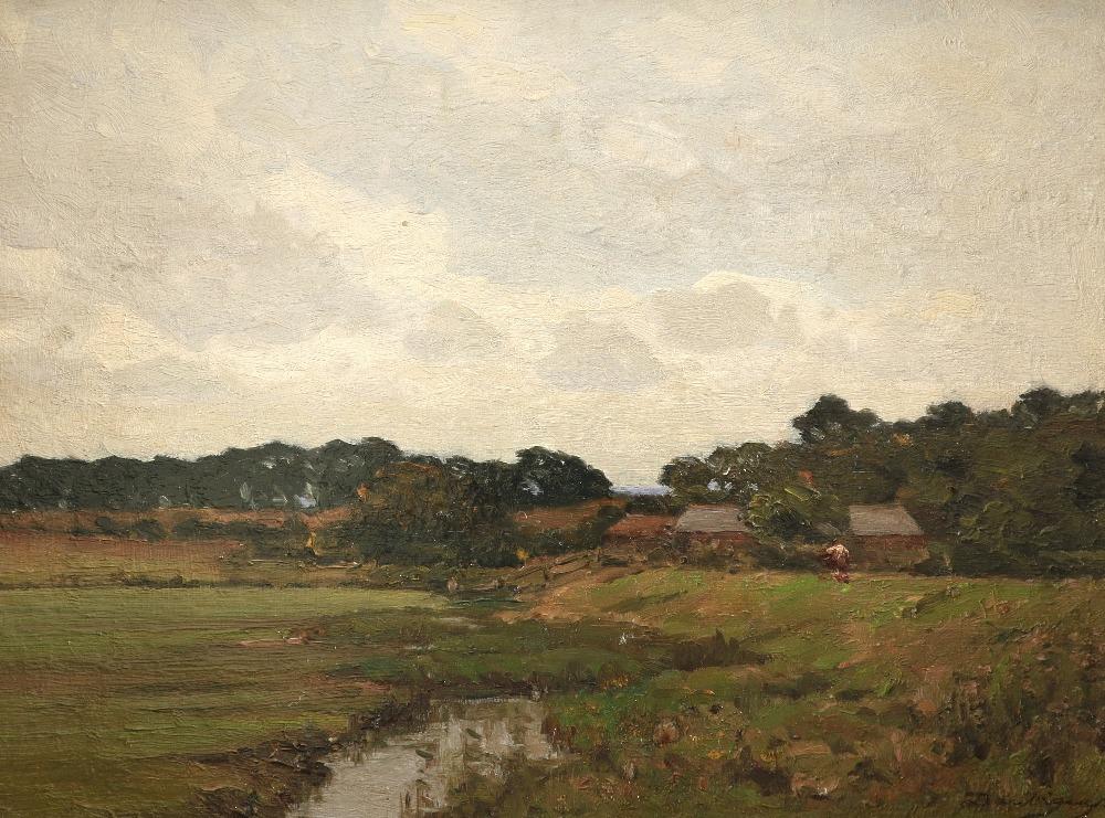 Charles-François Daubigny (French 1817-1878) Farm buildings in a French landscape Signed Daubigny (