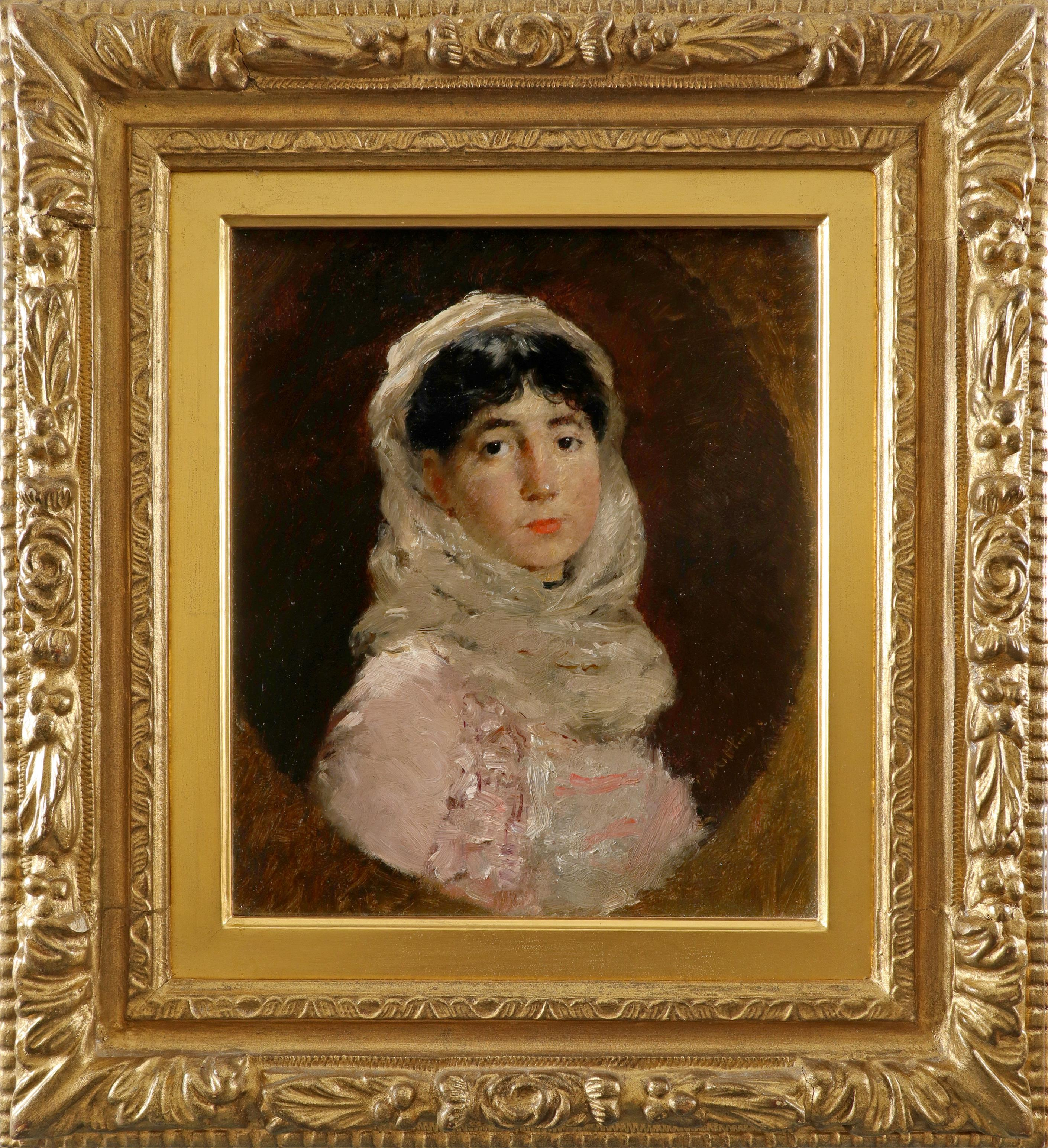 Continental School 19th Century Portrait of a lady, bust-length, in a pink dress and white shawl, in - Image 2 of 3