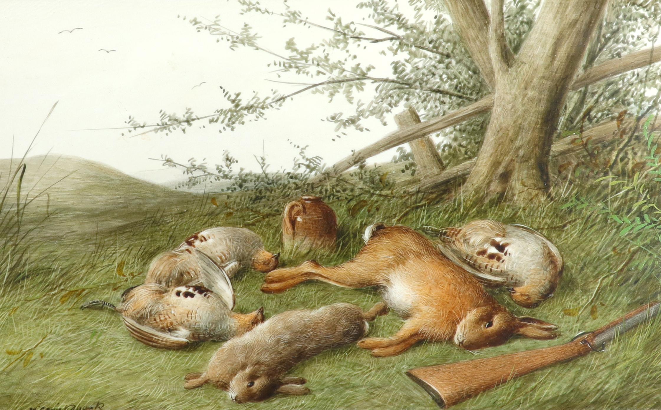λWilliam Cruickshank (1848-1922) Hunter and his spaniel; Spaniel and two hares; The day's bag; Three - Image 7 of 12