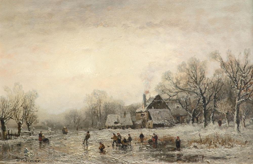 Adolf Stademann (German 1824-1895) Winter landscape with skaters on a frozen pond Signed