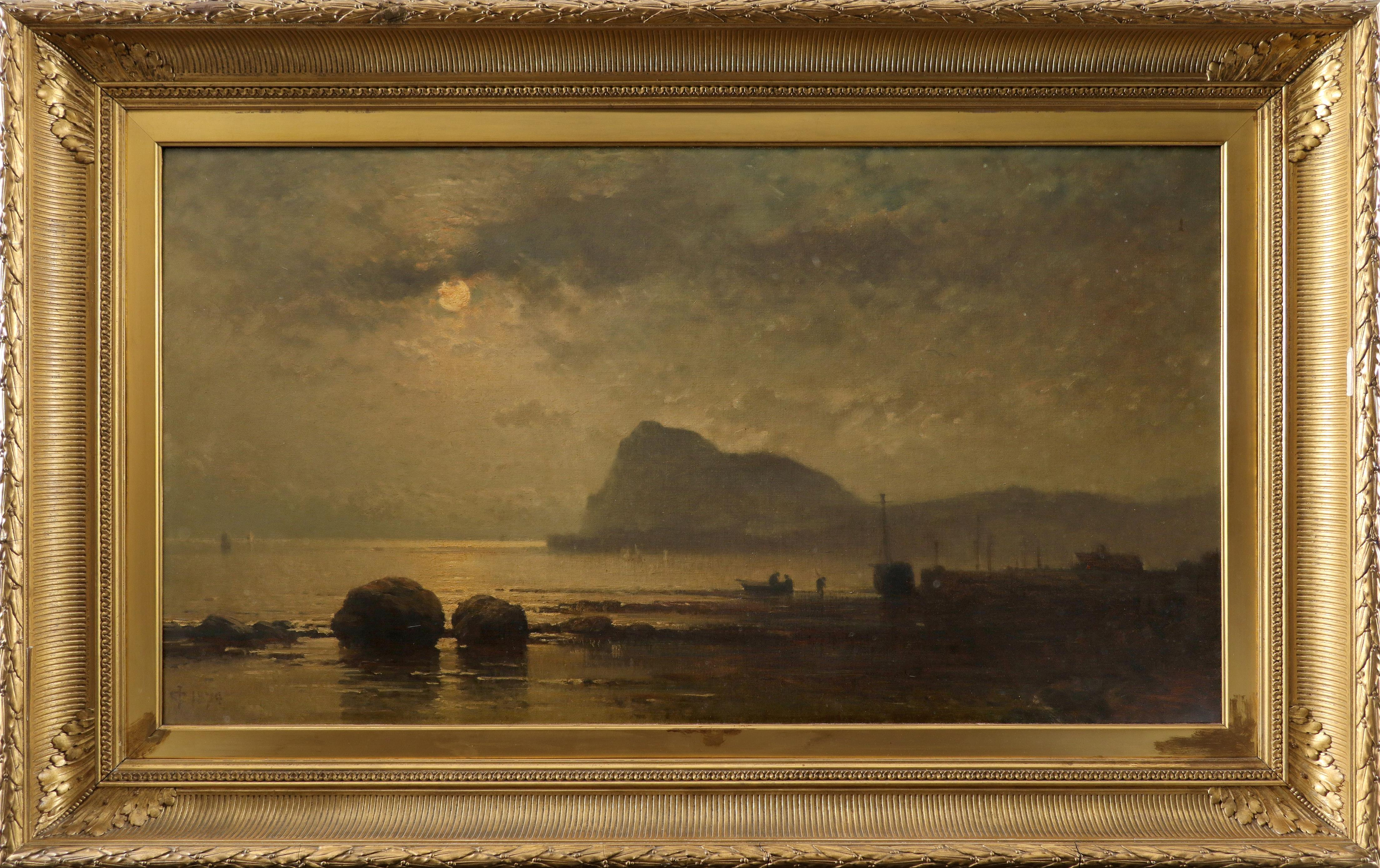 James Cassie RSA (Scottish 1819-1879) View of Holy Isle, by moonlight Signed with monogram and dated - Image 2 of 3