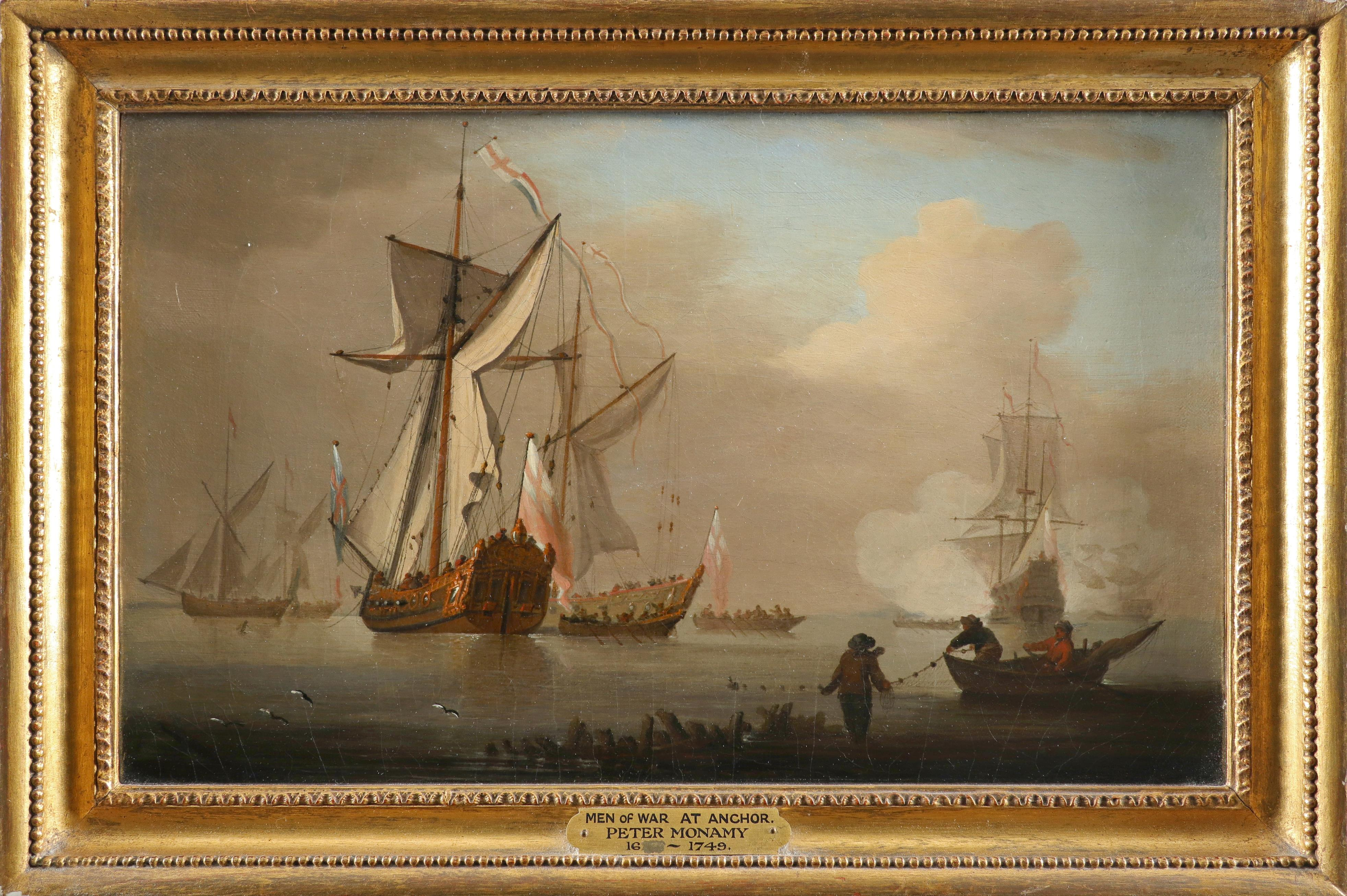 Peter Monamy (1681-1749) Men-of-war at anchor Oil on canvas 28 x 45.2cm; 11 x 17¾in Provenance: - Image 2 of 3