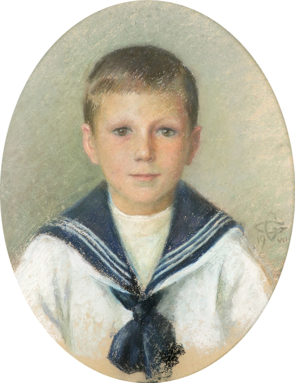 British School 1900 Portrait of a boy in a sailor suit; Portrait of a girl in a blue dress with lace