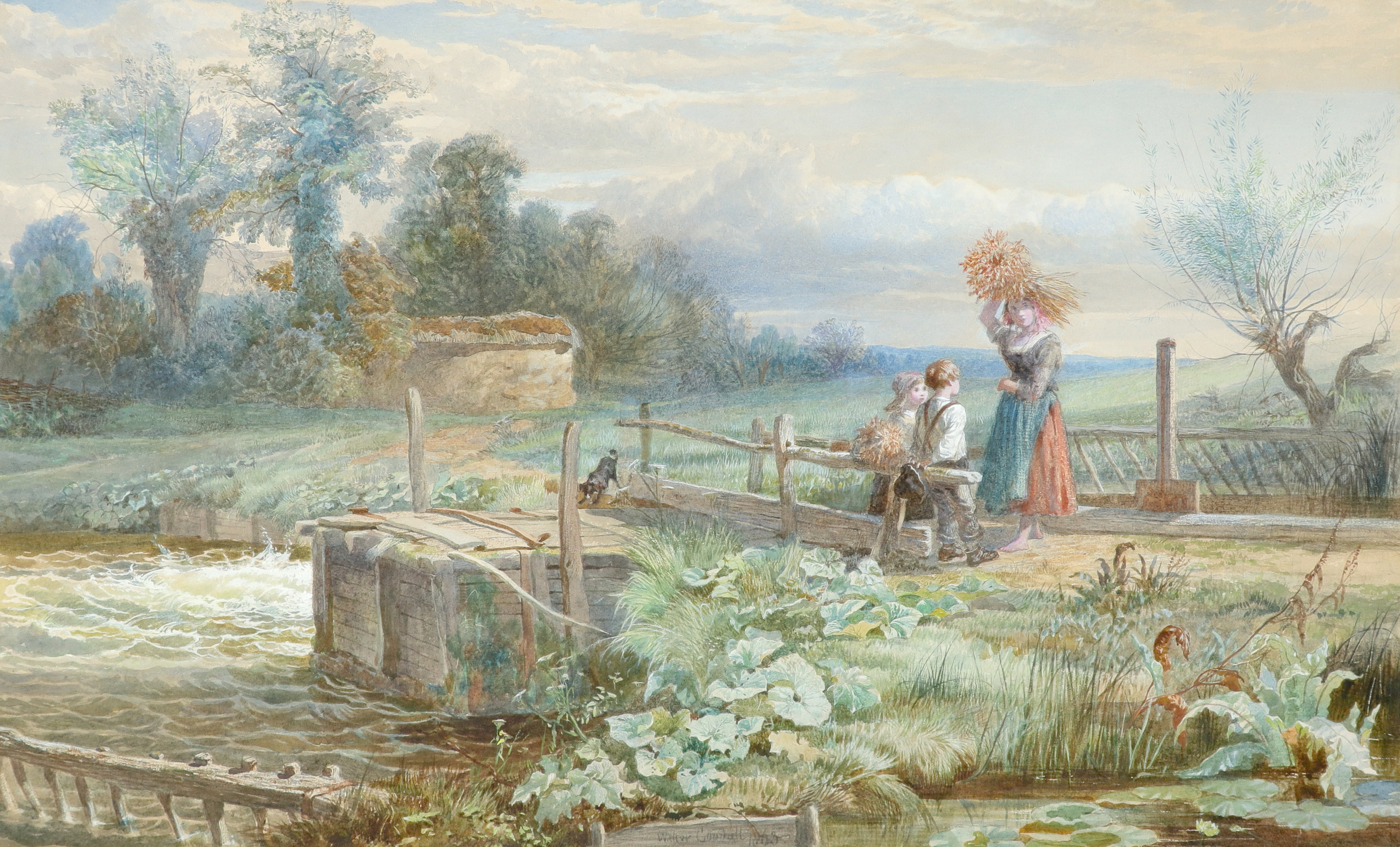 Walter Goodall (1830-1889) The little gleaners Signed and dated Walter Goodall 1863 (lower centre)
