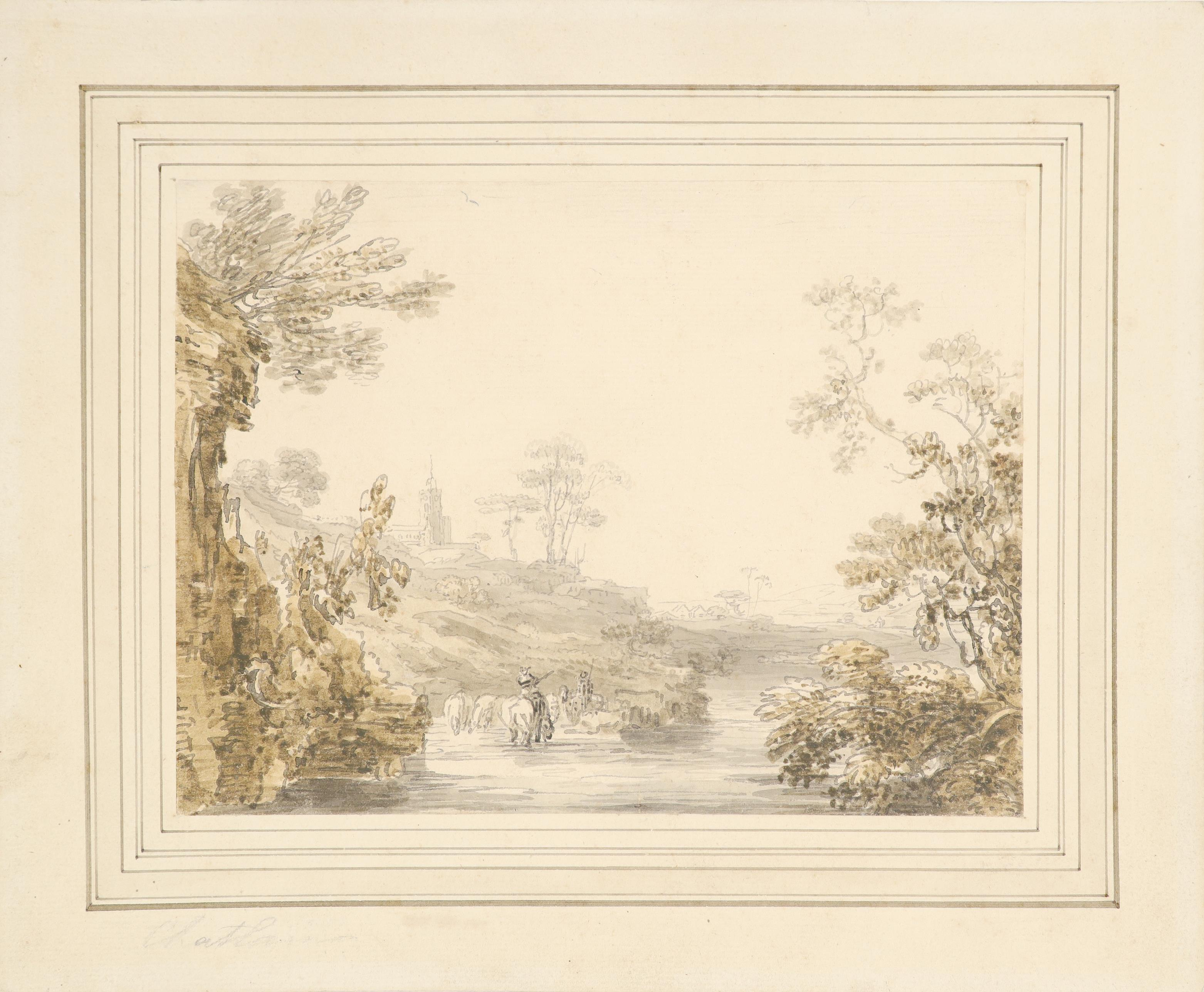 Jean-Baptiste-Claude Chatelain (1710-c.1758) River landscape with herdsman in the foreground Pencil, - Image 2 of 3