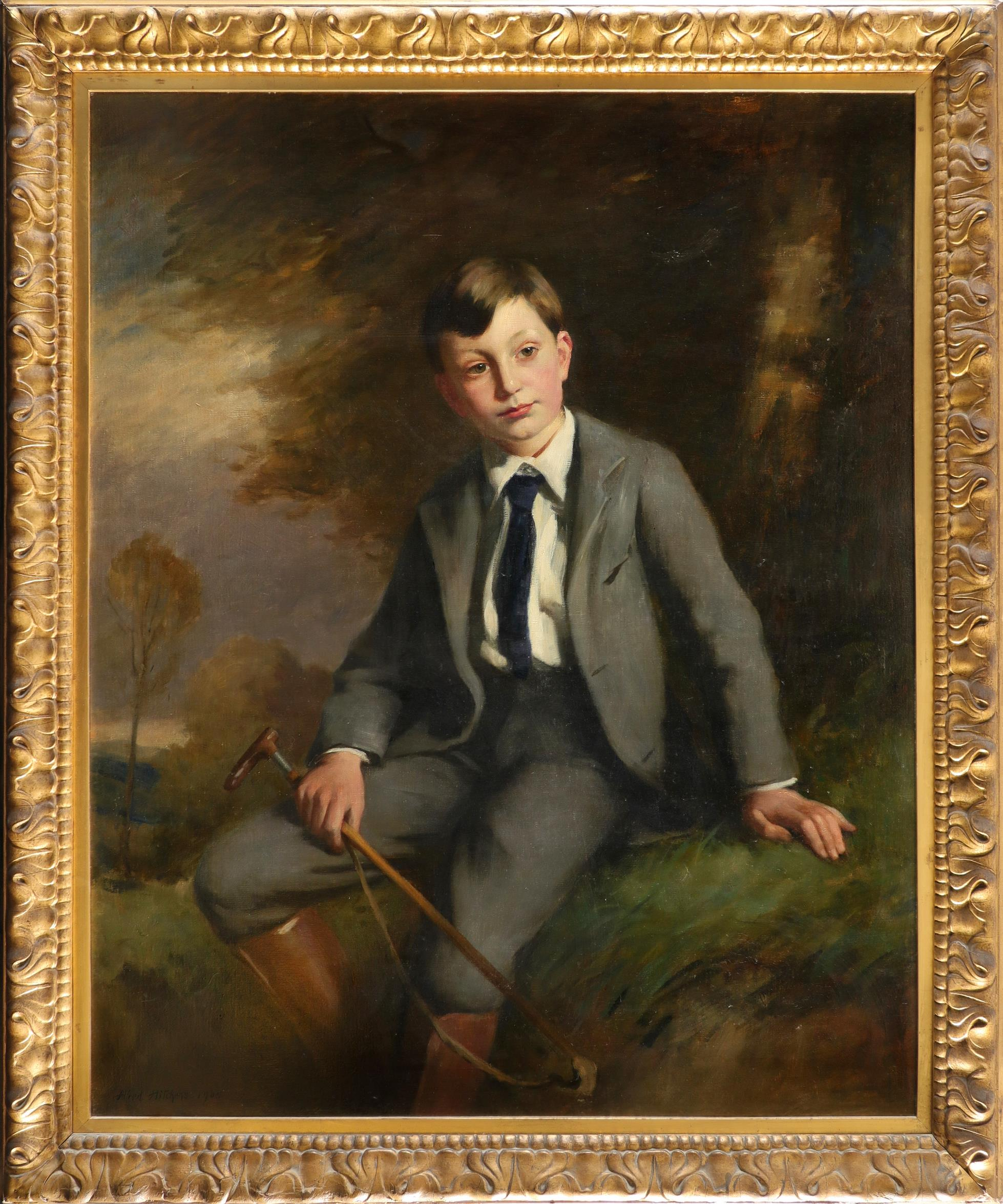 Alfred Hitchens (1861-1942) Portrait of Geoffrey Mercer (1896-1966) as a boy, seated in a landscape, - Image 2 of 3