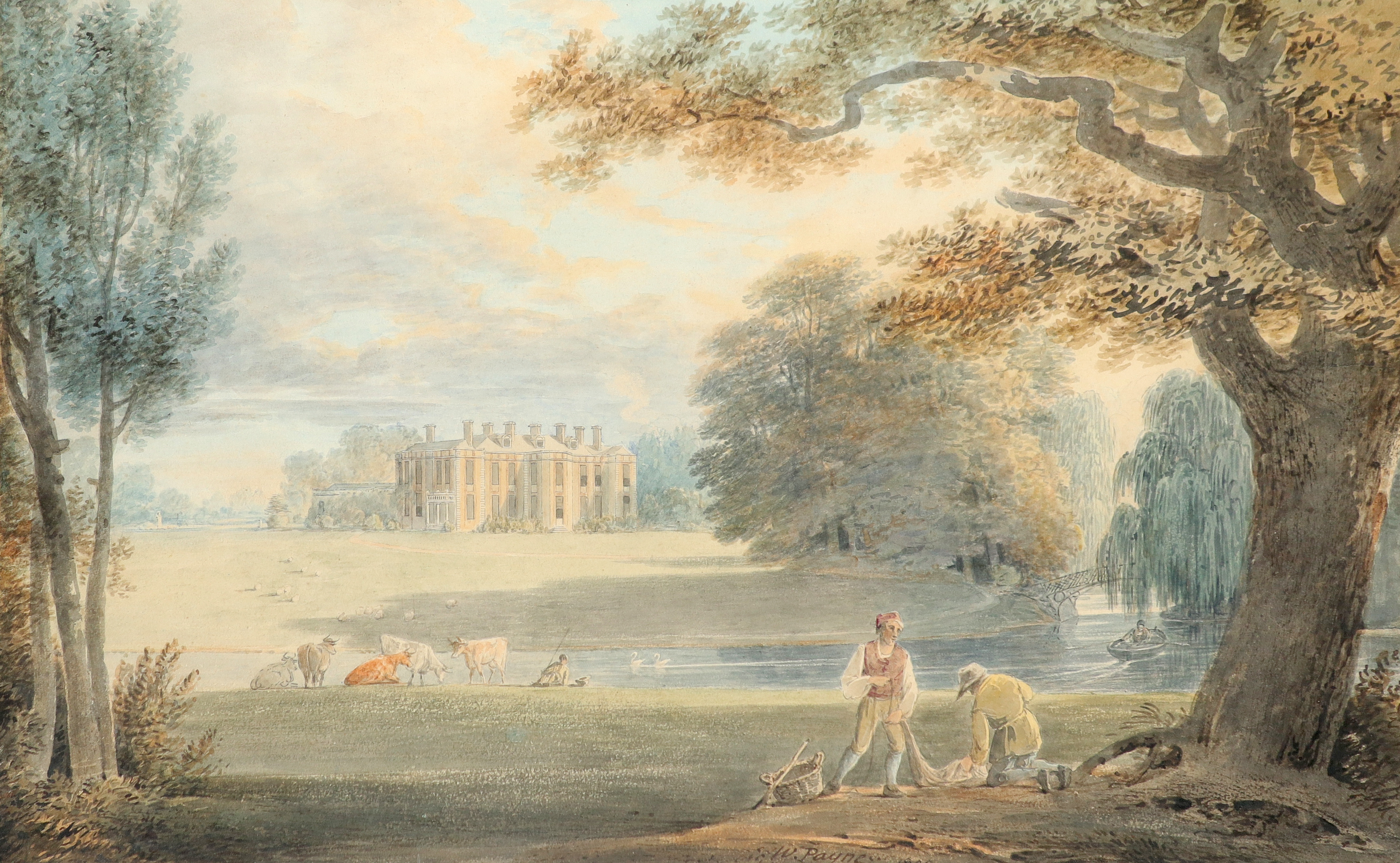 William Payne RWS (1760-1830) View of a country house, with fishermen repairing nets by a river