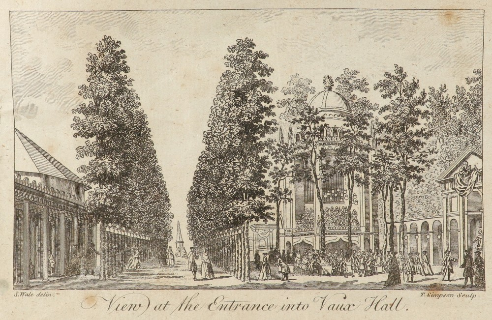 Samuel Wale RA (1721-1786) A view of the entrance of Vauxhall Gardens Pen and ink and grey wash, - Image 4 of 6