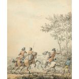 English School Early 19th Century On the hunt; Riders resting A pair, both watercolour heightened