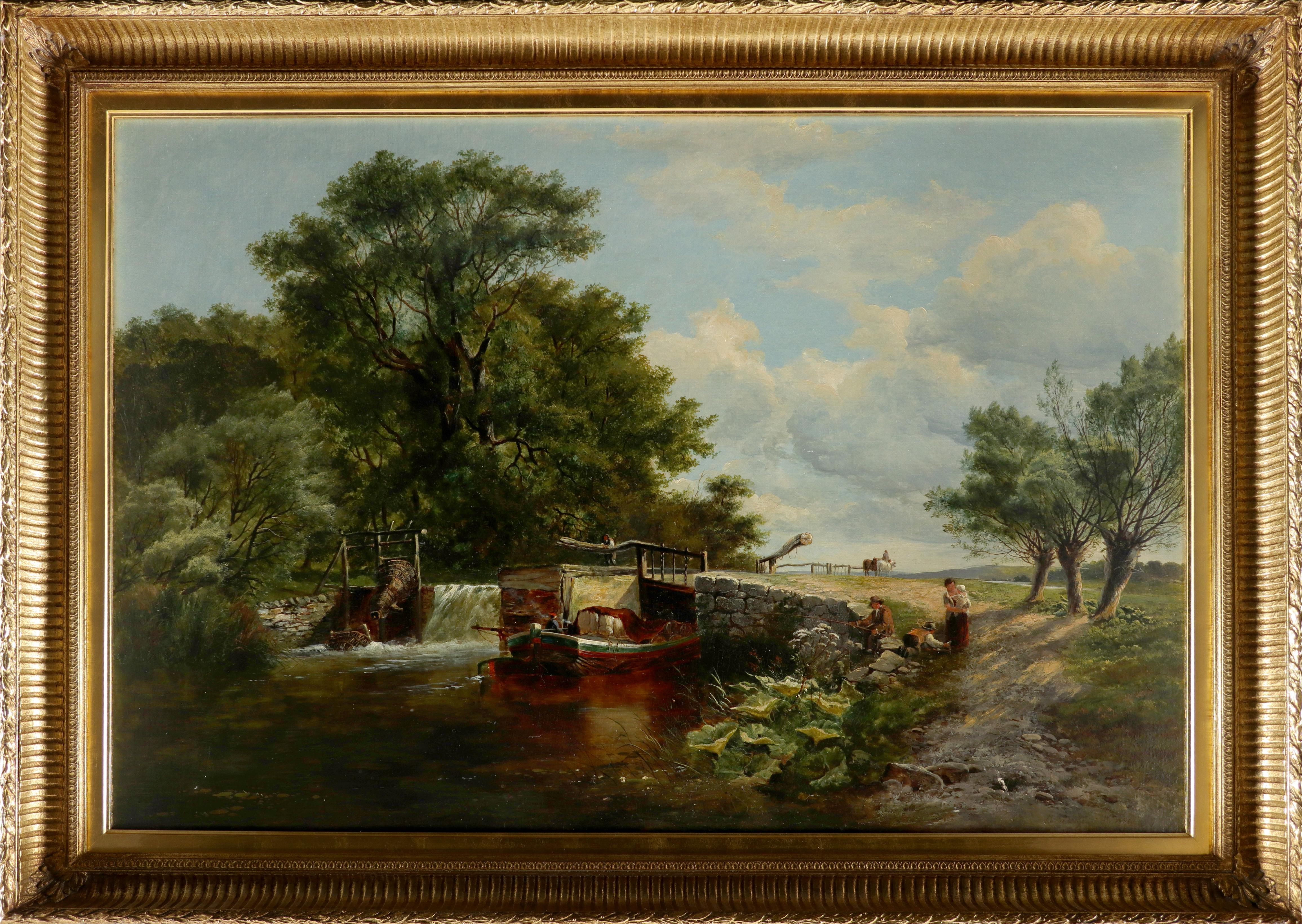 Edwin Henry Boddington (1836-1905) Figures by a lock on the River Ouse Signed and dated E Boddington - Image 2 of 3