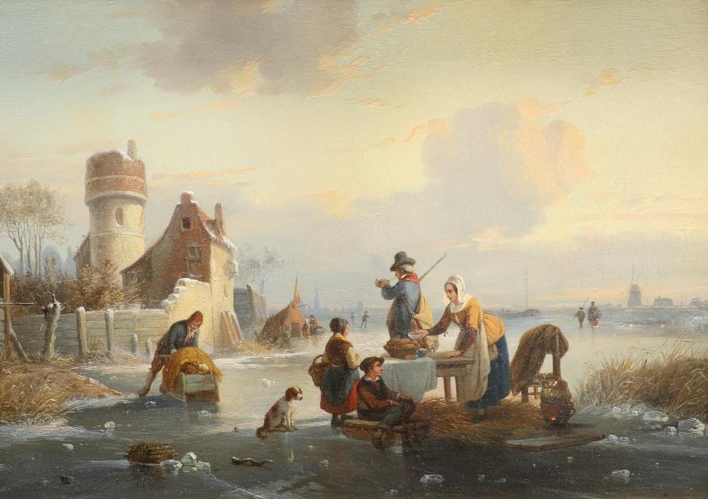 Jean Michiel Ruyten (Belgian 1813-1881) Winter landscape with figures on a frozen river Oil on panel