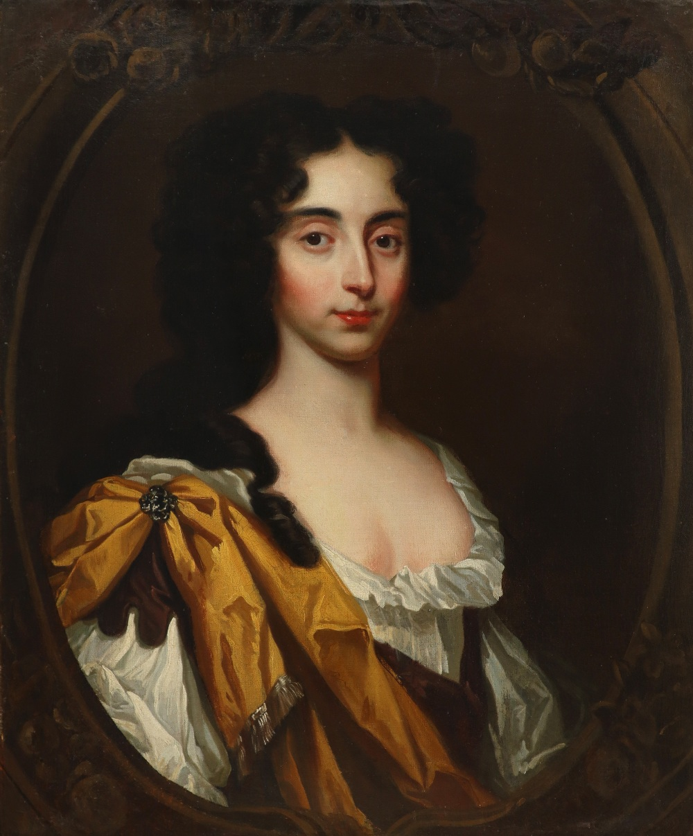 Circle of Mary Beale Portrait of Henrietta Walker, half-length, wearing a gold wrap in a painted