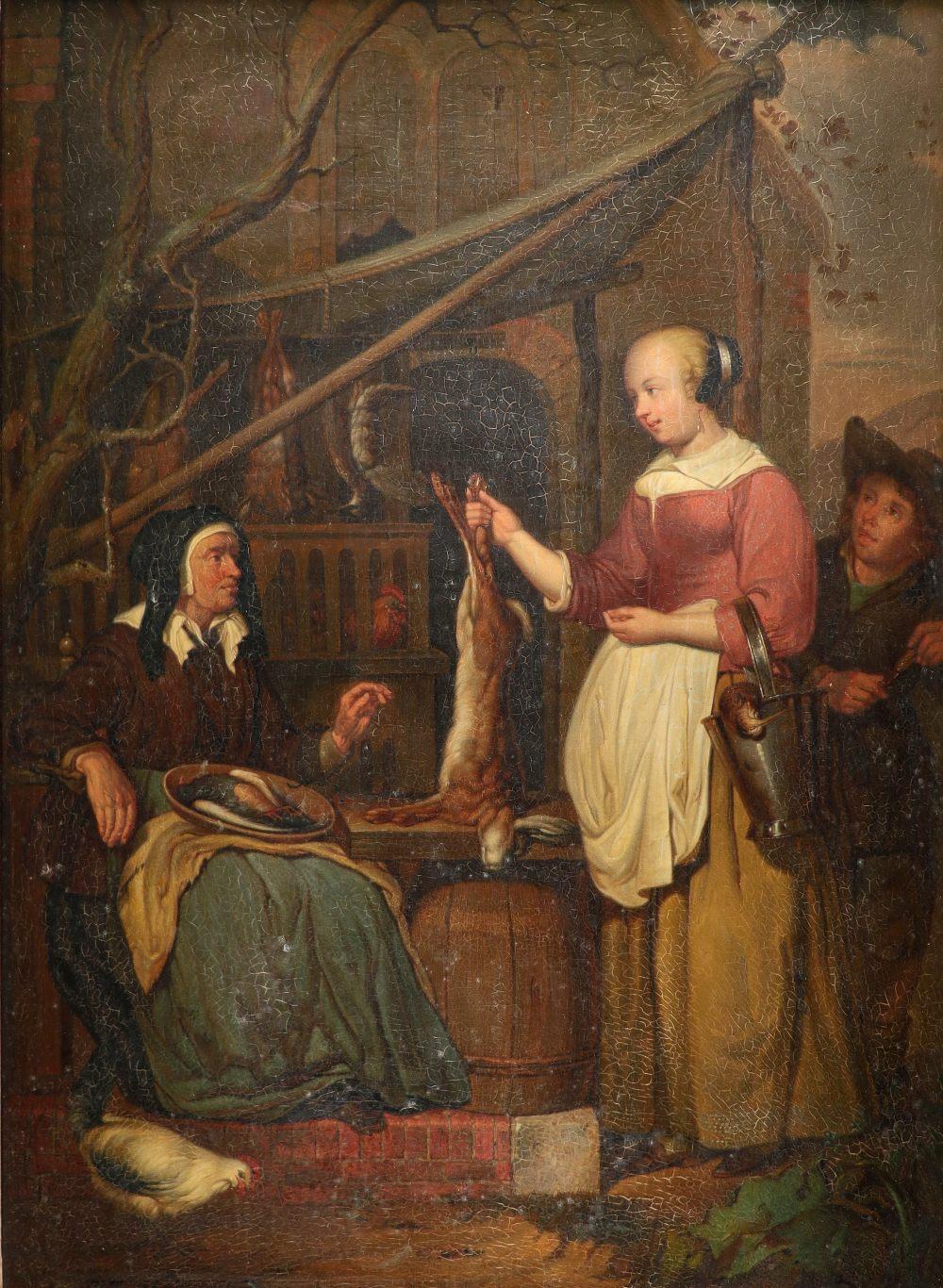 P. J. Neuman (Belgian 19th Century) after Gabriλl Metsu (Dutch 1629-1667) The old game dealer