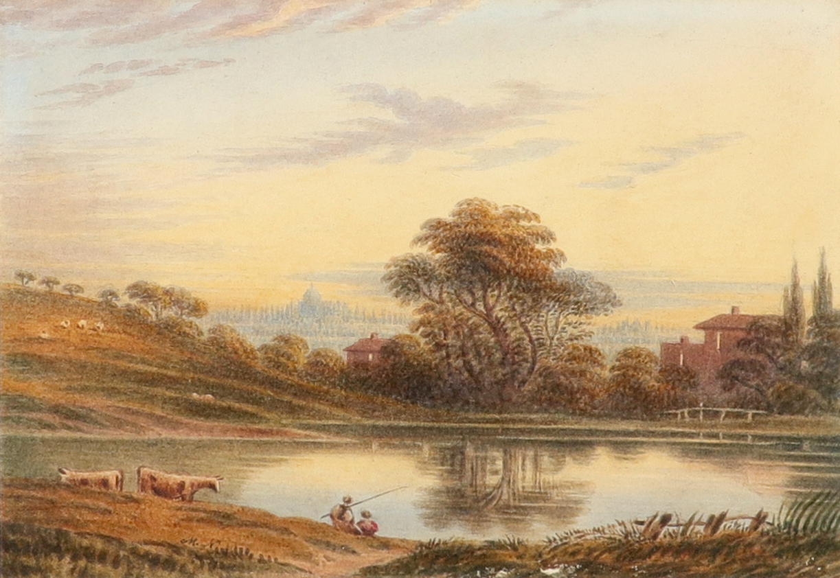 English School c.1790 Hampstead Heath at dawn Signed with initials M.N (lower left), and inscribed