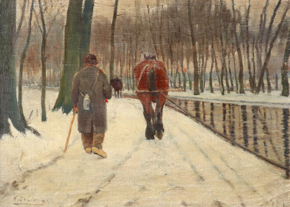 Henry de Clerck (Belgium act. 1886-1900) Winter landscape with a man and barge horse by a canal