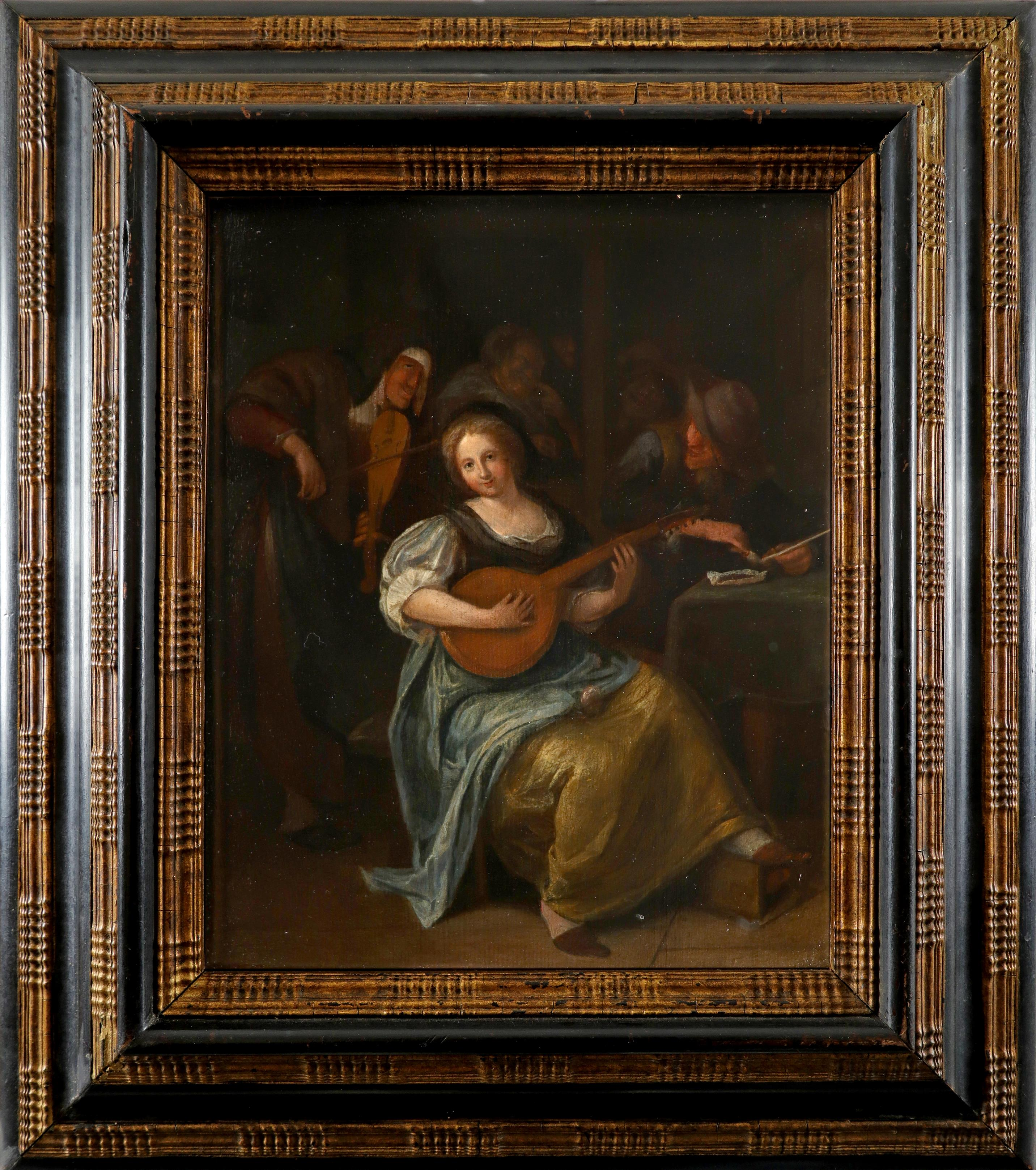 Circle of Jan Steen Tavern scene with a young woman playing a lute Oil on panel 29 x 23.5cm; 11½ x - Image 2 of 3