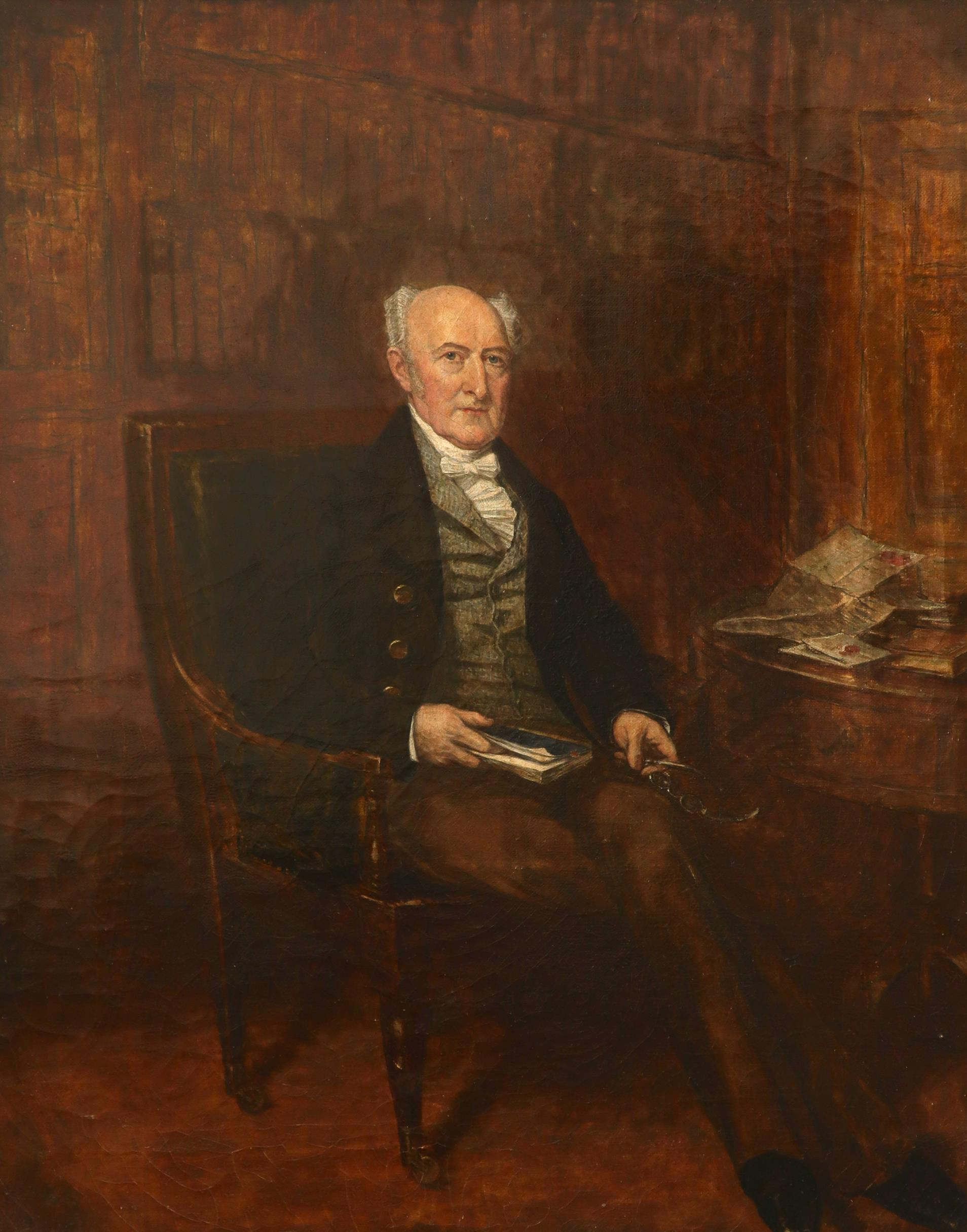 English School 19th Century Portrait of a gentleman, full-length, seated and holding a book Oil on