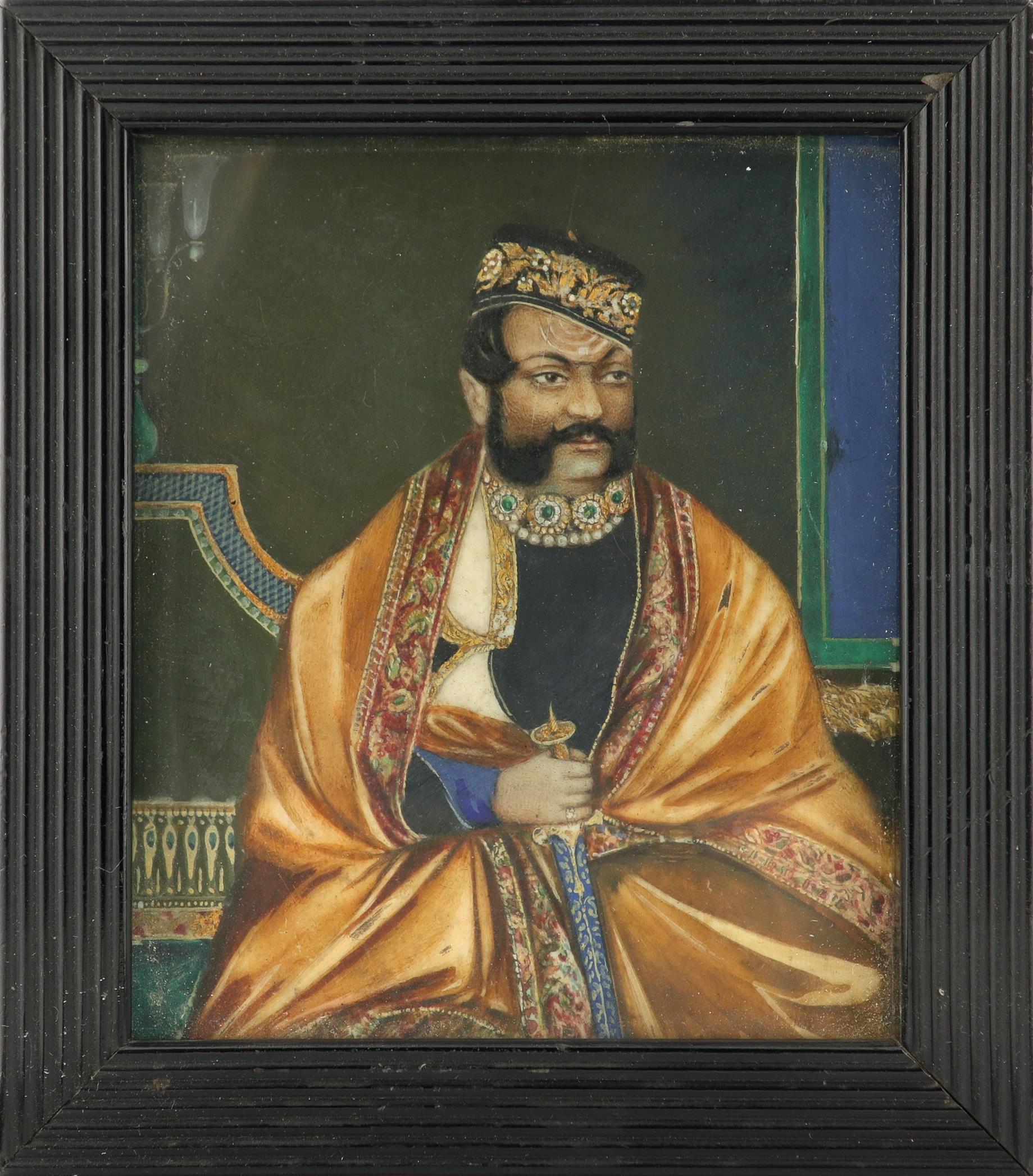λIndian School Portrait miniature of the Maharaja of Gwalior, seated in an interior holding a - Image 2 of 3
