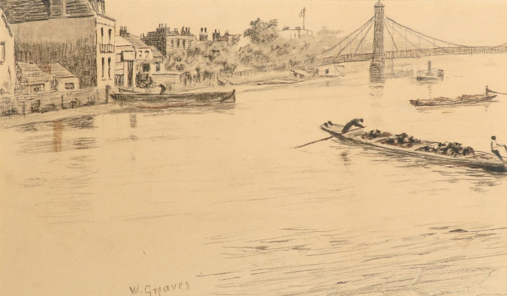 Walter Greaves (1846-1930) A view of the Thames at Battersea Bridge Signed W.Greaves (lower left)