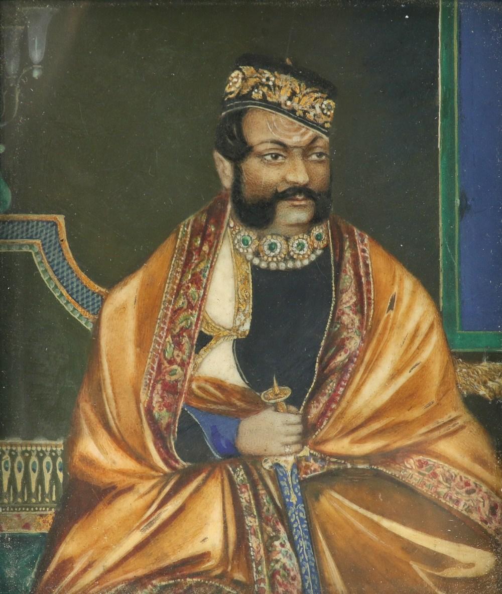 λIndian School Portrait miniature of the Maharaja of Gwalior, seated in an interior holding a