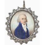 λEnglish School Late 18th Century Portrait miniature of a gentleman, in a blue coat, with a white