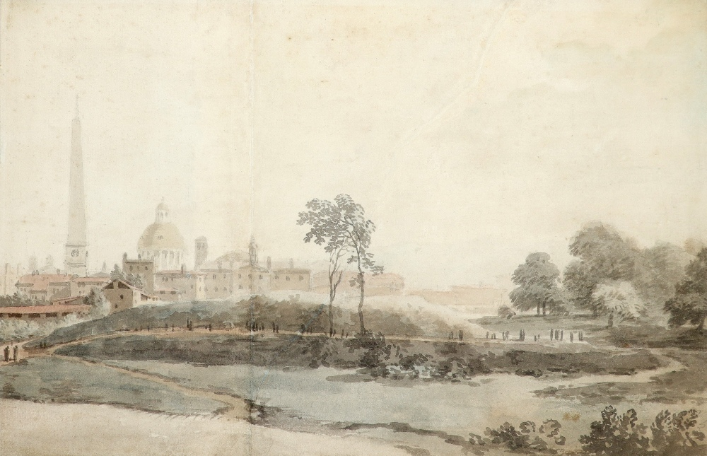 Attributed to William Taverner (1703-1772) A view of Rome with St. Peter's from outside the walls
