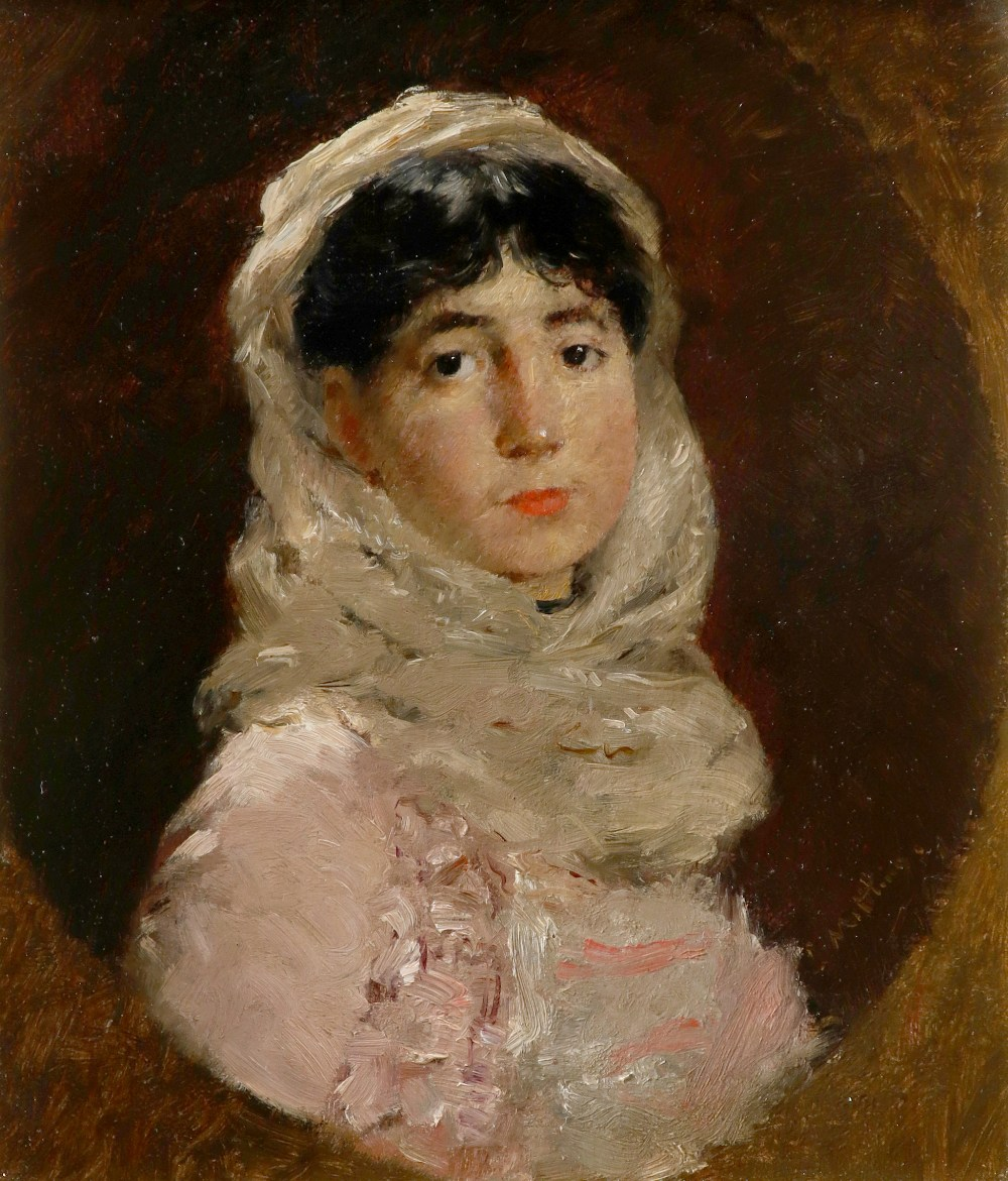 Continental School 19th Century Portrait of a lady, bust-length, in a pink dress and white shawl, in