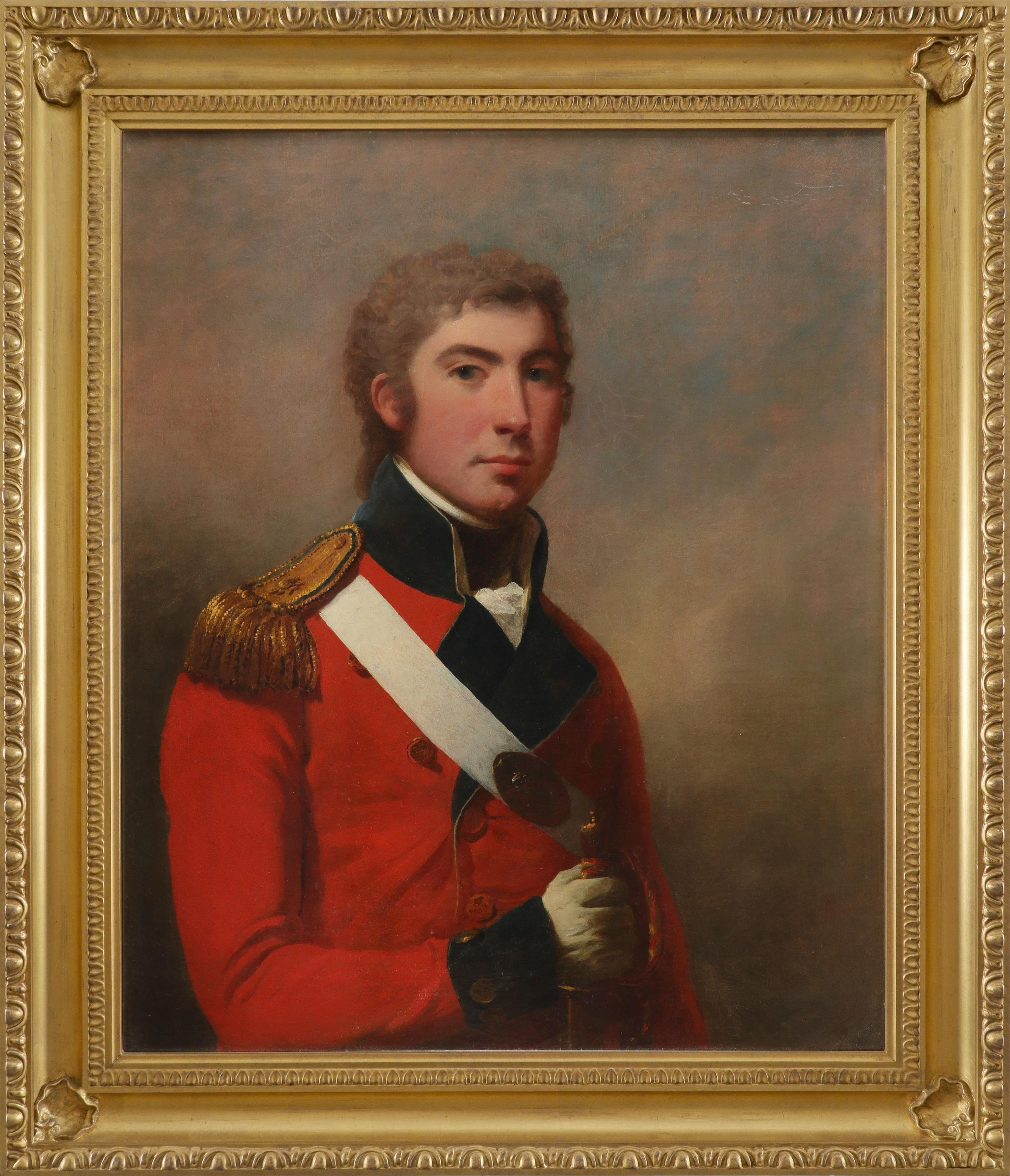 Attributed to Arthur William Devis (1762-1822) Portrait of young officer, half-length, in uniform - Image 2 of 3