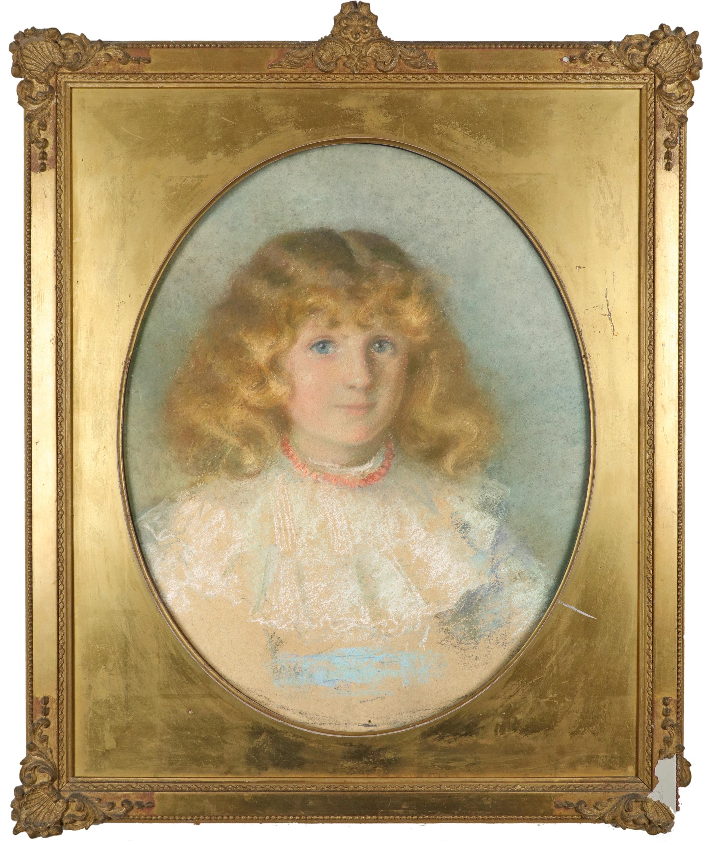 British School 1900 Portrait of a boy in a sailor suit; Portrait of a girl in a blue dress with lace - Image 5 of 6
