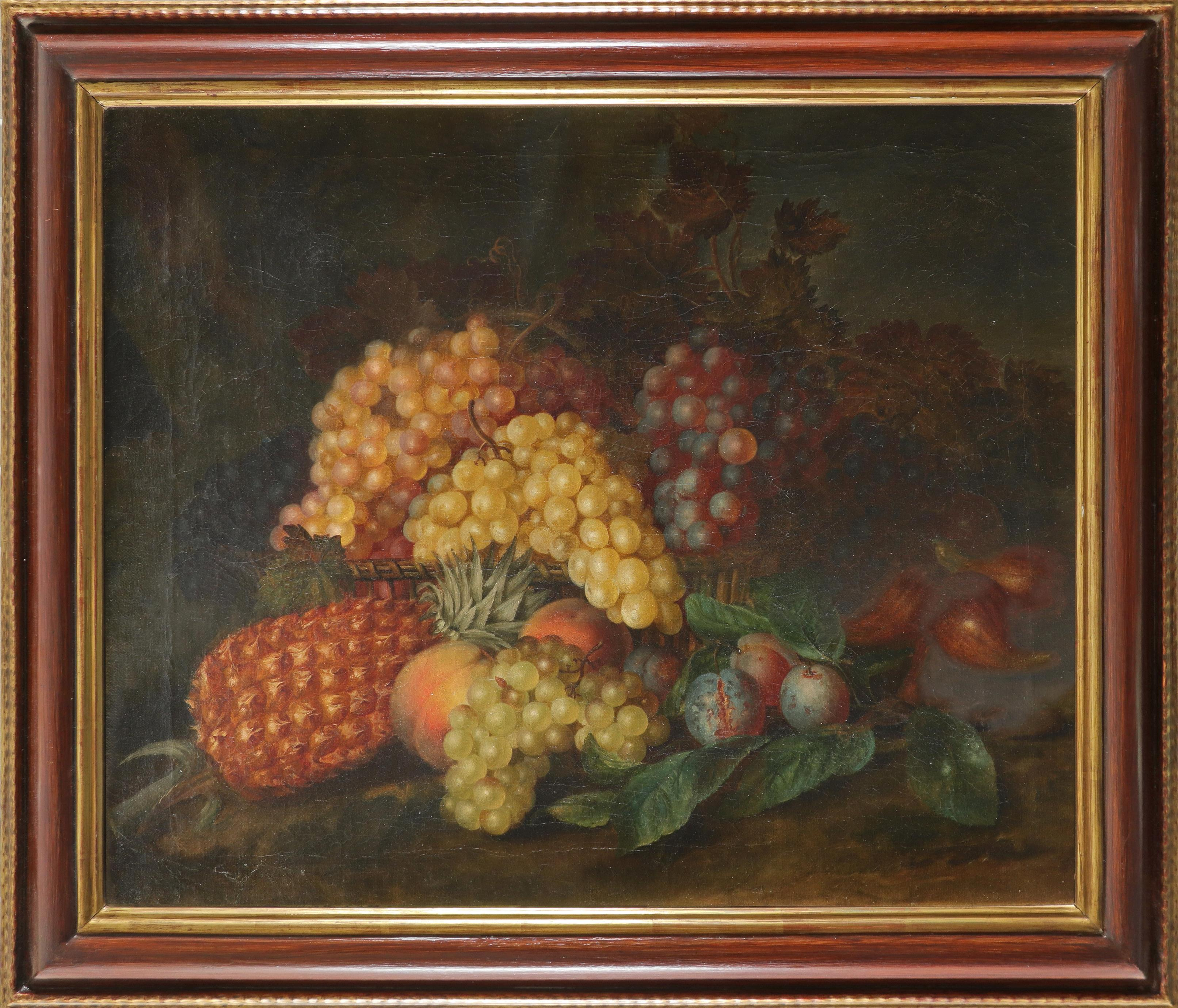 Follower of Eloise Harriet Stannard Still life with a basket of peaches, plums and grapes on a - Image 5 of 6