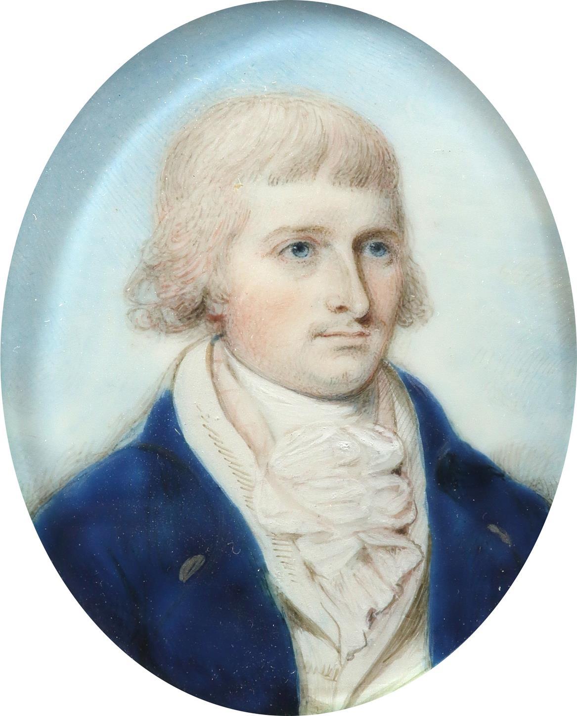 λThomas H. Hull (act. 1775-1827) Portrait miniature of a gentleman in a blue coat and white - Image 2 of 3