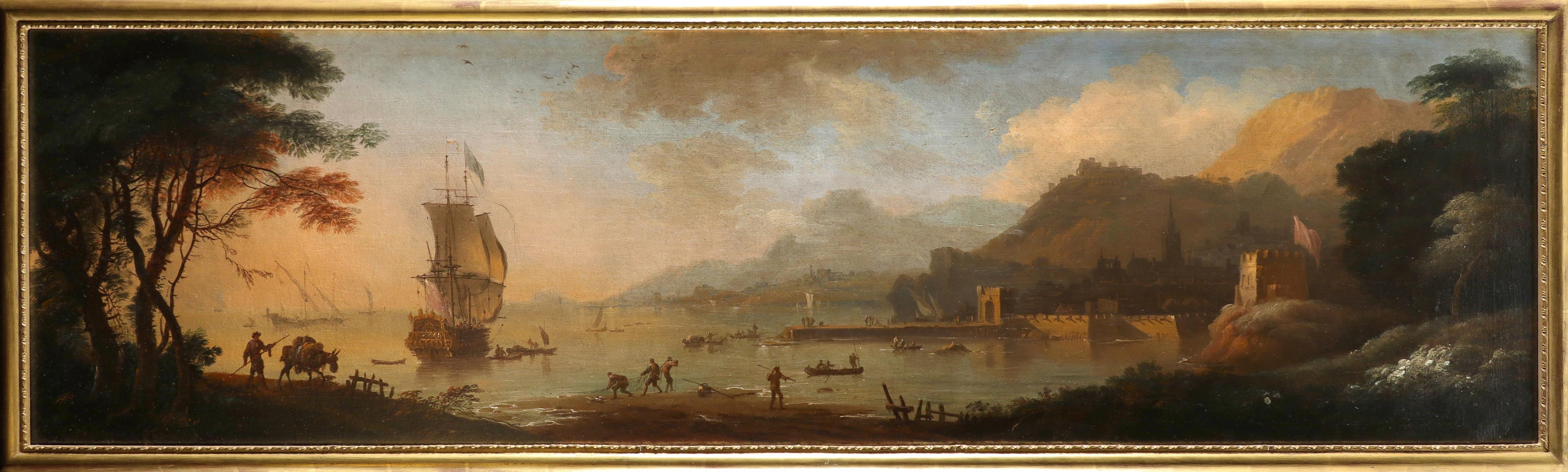 Adriaen Van Diest (Dutch 1655-1704) A Mediterranean coastal landscape at dawn, with a port in the - Image 2 of 6