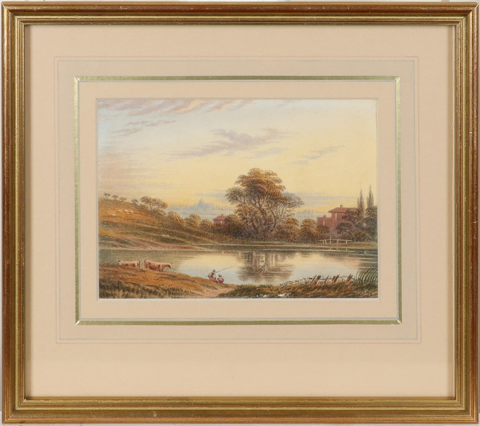 English School c.1790 Hampstead Heath at dawn Signed with initials M.N (lower left), and inscribed - Image 2 of 3
