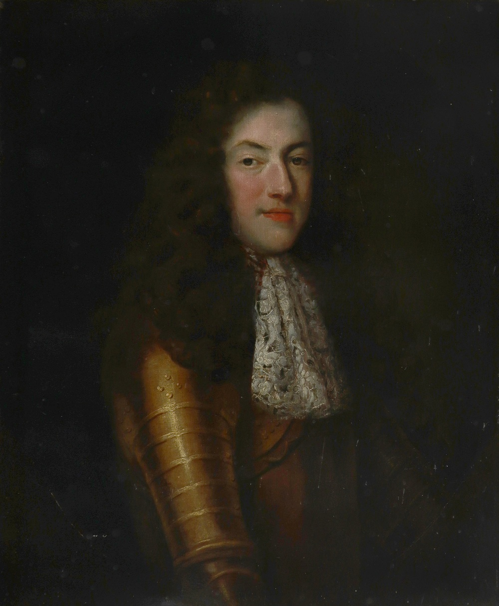 Circle of John Riley Portrait of a gentleman, half-length, in gilded armour in a painted oval Oil on