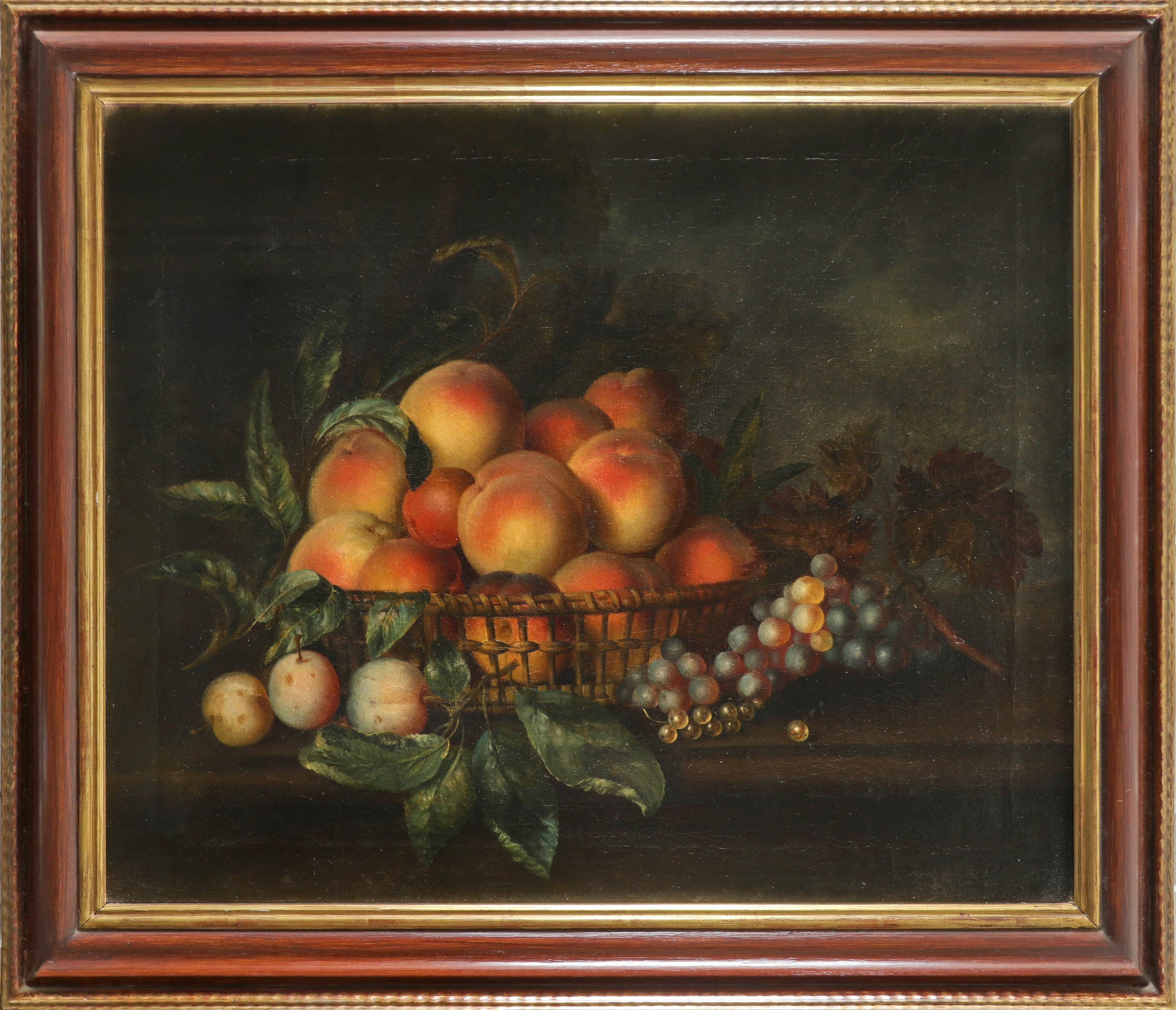 Follower of Eloise Harriet Stannard Still life with a basket of peaches, plums and grapes on a - Image 2 of 6