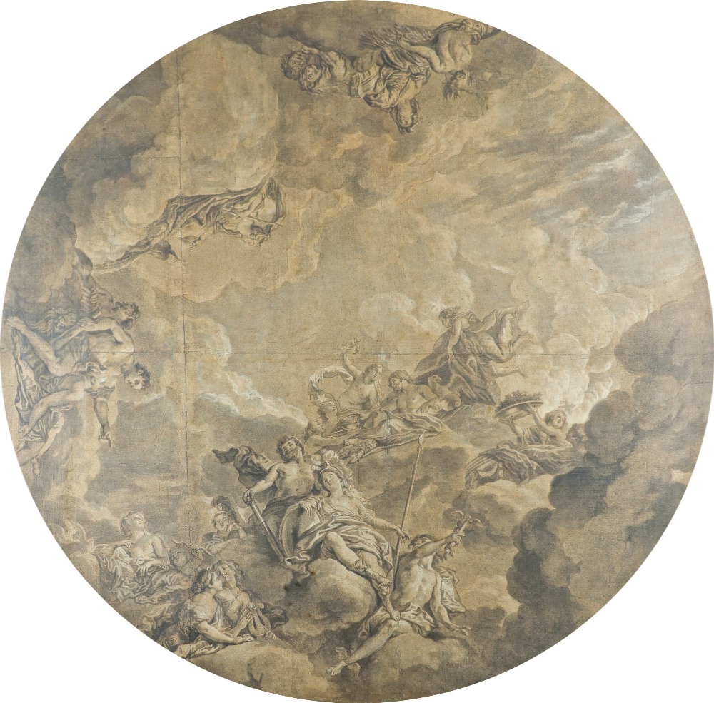 Circle of Jean-Charles Delafosse Ceiling design depicting an assembly of the gods Pencil and wash,