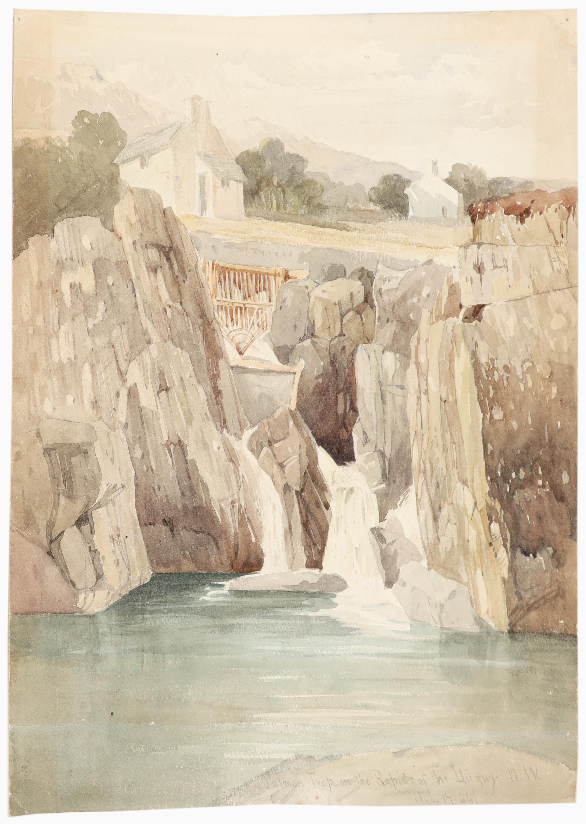Harry John Johnson (1826-1884) Salmon trap on the rapids of the Llugwy, North Wales; Landscape - Image 2 of 9