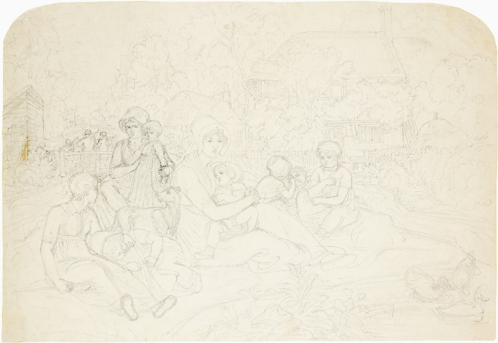 Joshua Cristall (c.1767-1847) Sketch of figures before a cottage Pencil 30 x 44cm; 11¾ x 17¾in