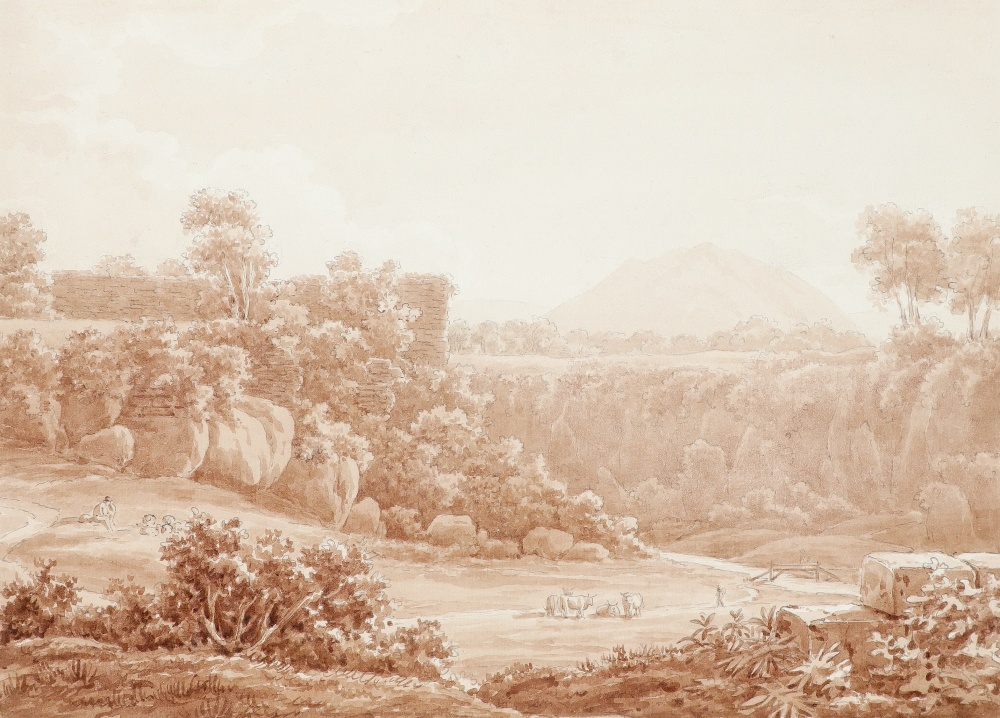 Edward Swinburne (1765-1847) Roman landscape with Mount Soracte in the distance Signed and inscribed