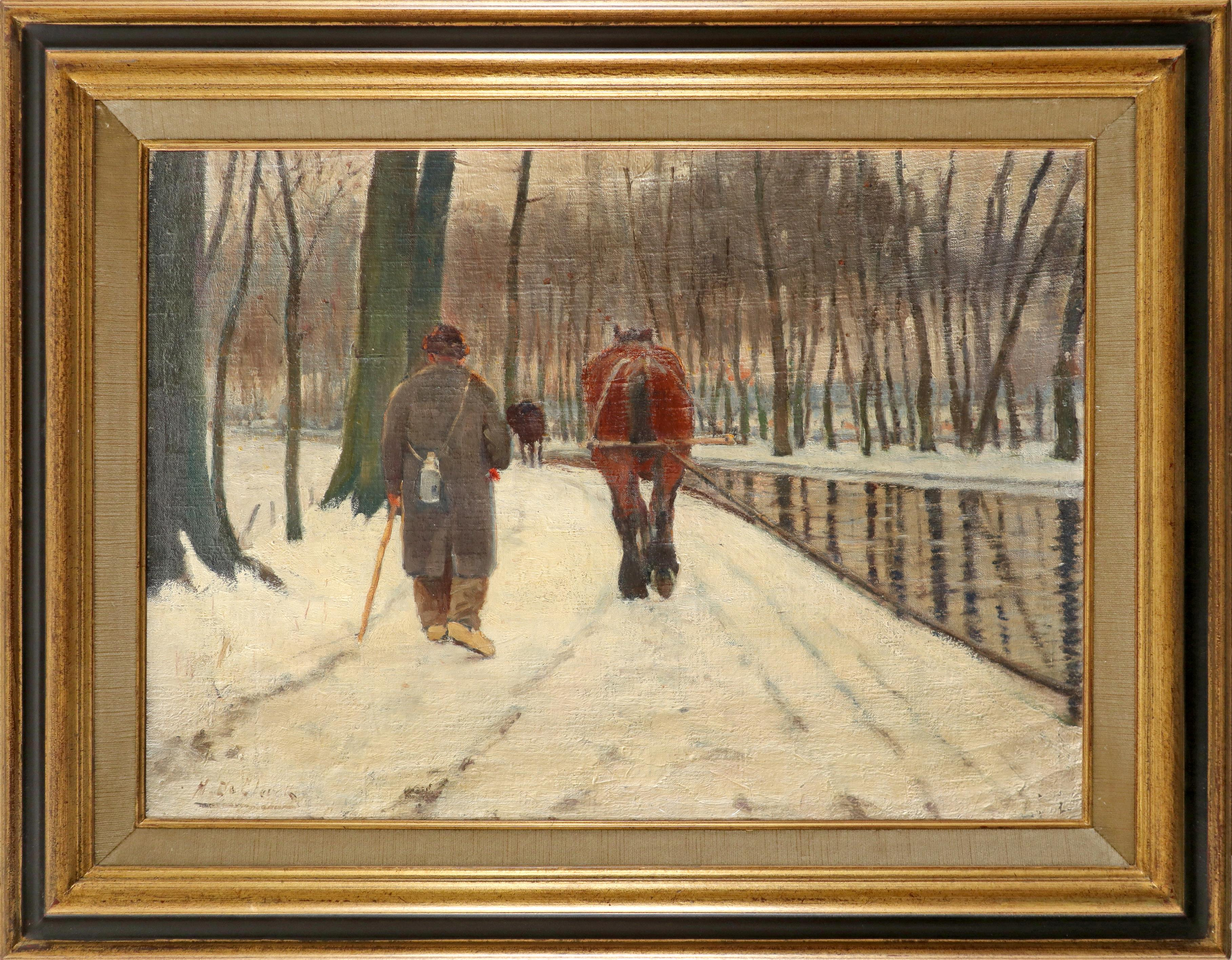 Henry de Clerck (Belgium act. 1886-1900) Winter landscape with a man and barge horse by a canal - Image 2 of 3