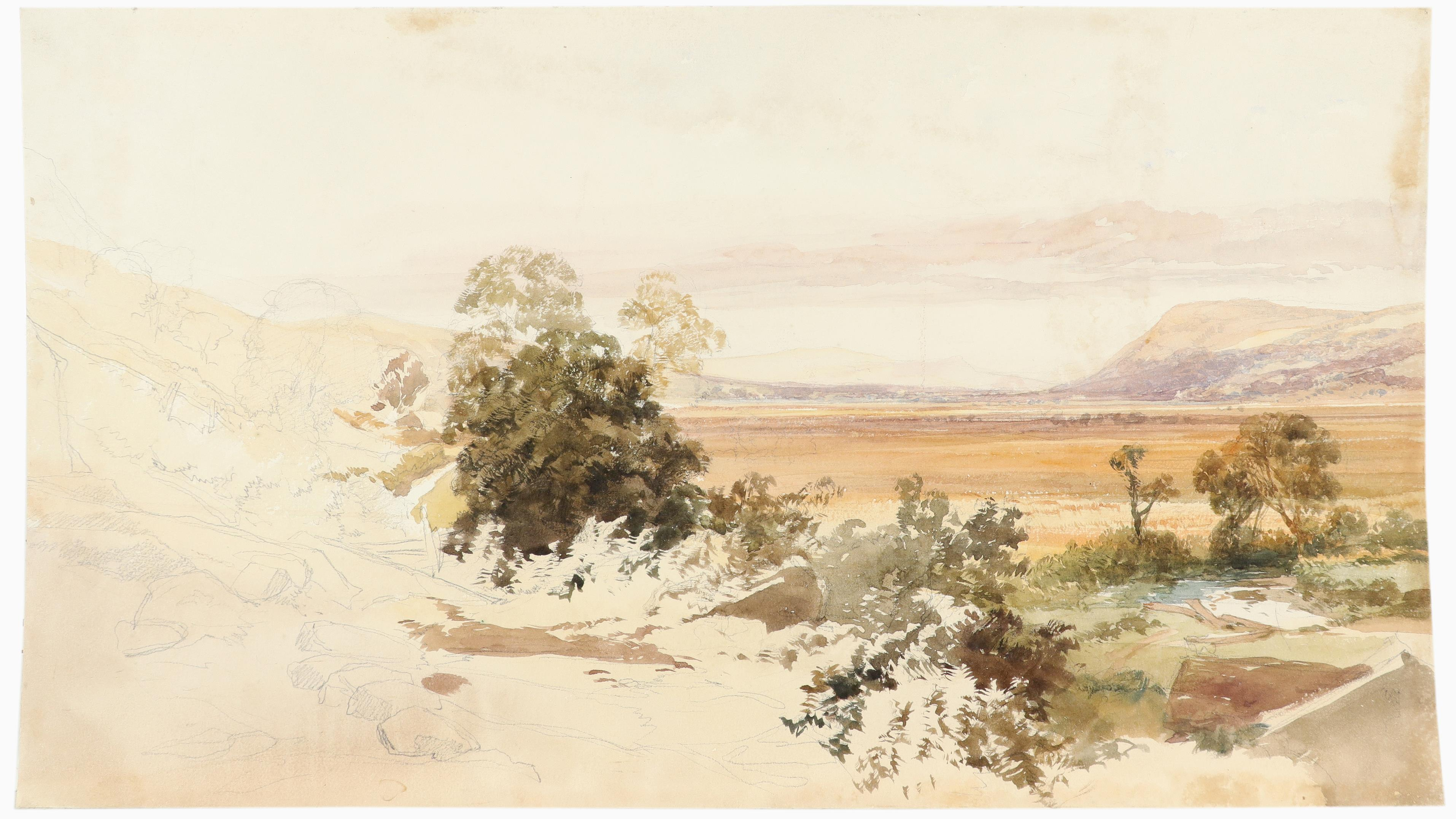 James Duffield Harding (1798-1863) Extensive landscape with mountains in the distance Watercolour - Image 2 of 3